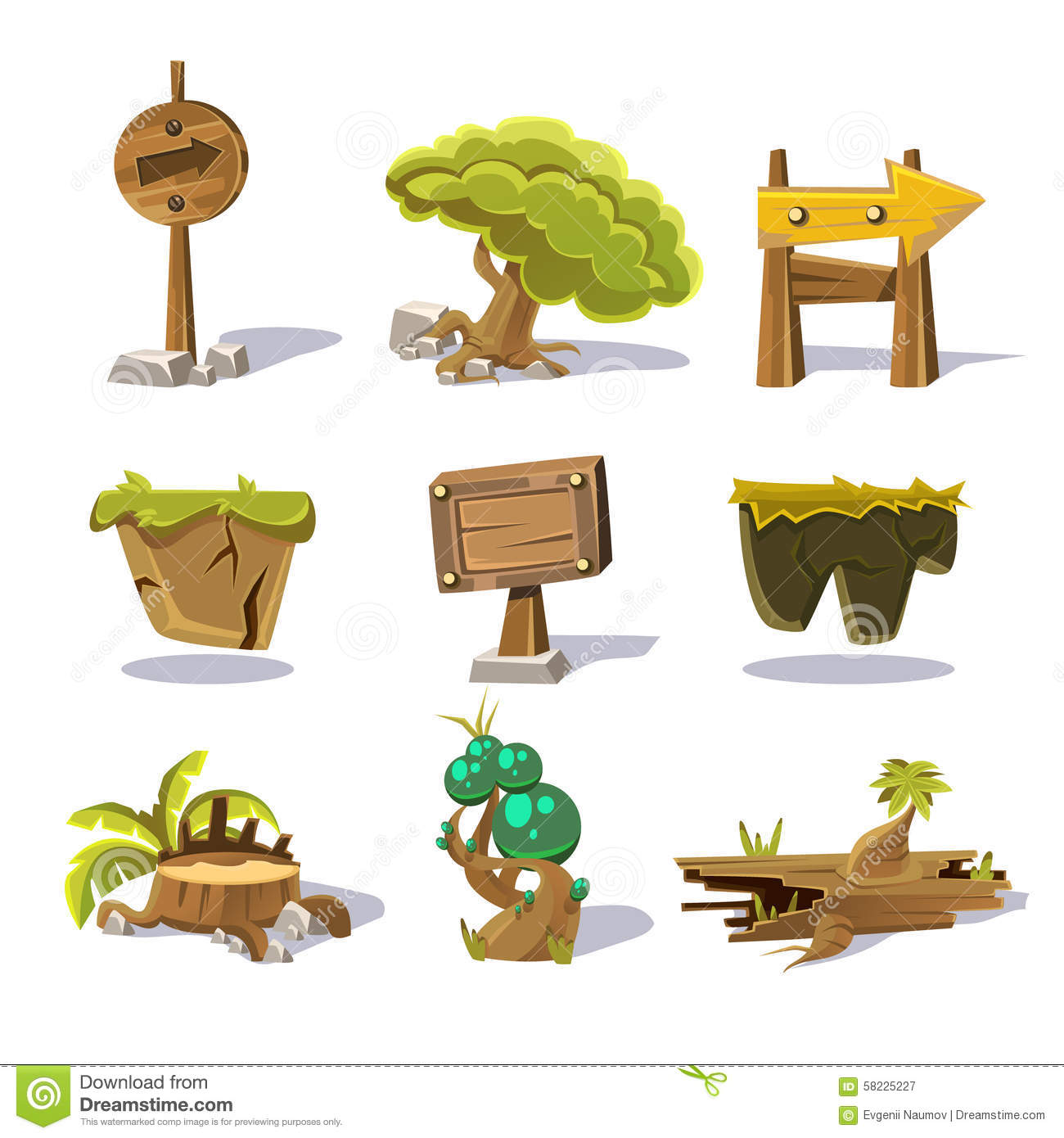 objects nature cartoon elements background vector gaming preview shutterstock