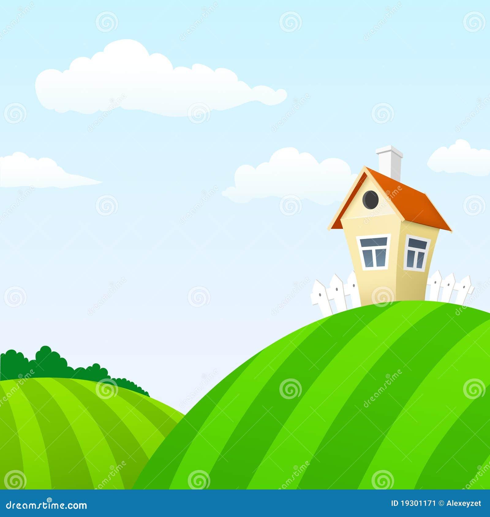 House Landscape Images: Cartoon Nature Landscape With House Stock Image
