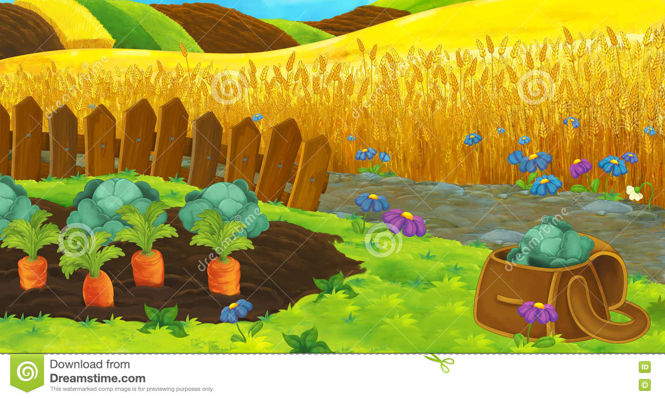 Cartoon nature scene - farm fields - empty stage for different usage