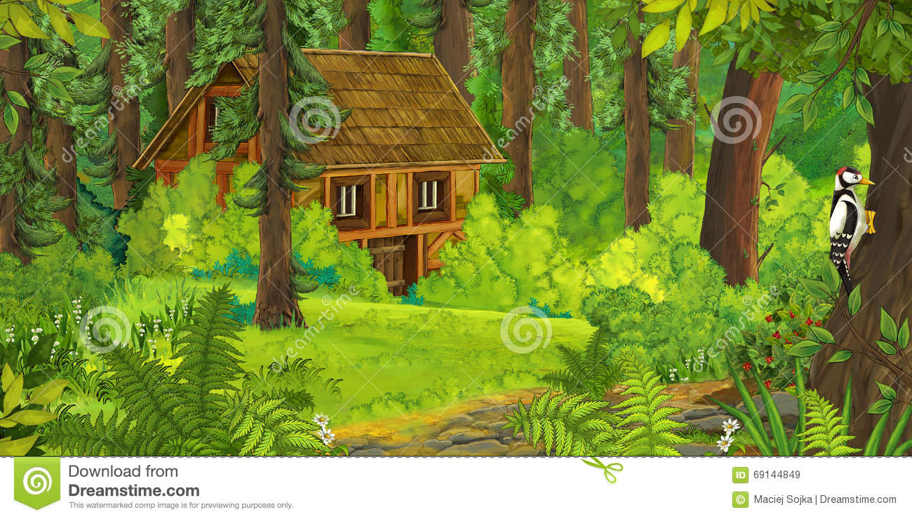 cartoon nature scene old house forest colorful beautiful illustration children 69144849