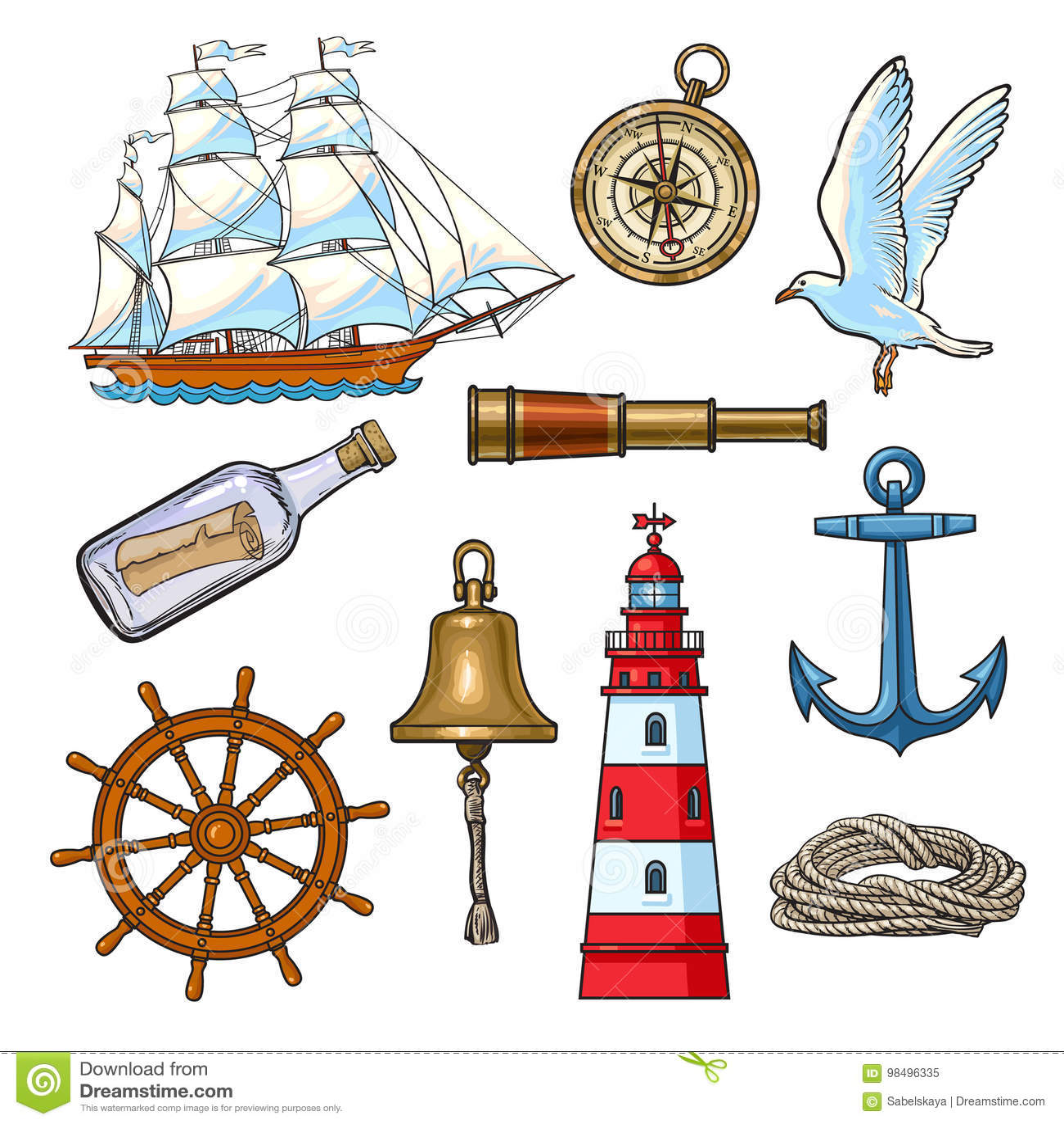 Cartoon nautical elements, vector illustration