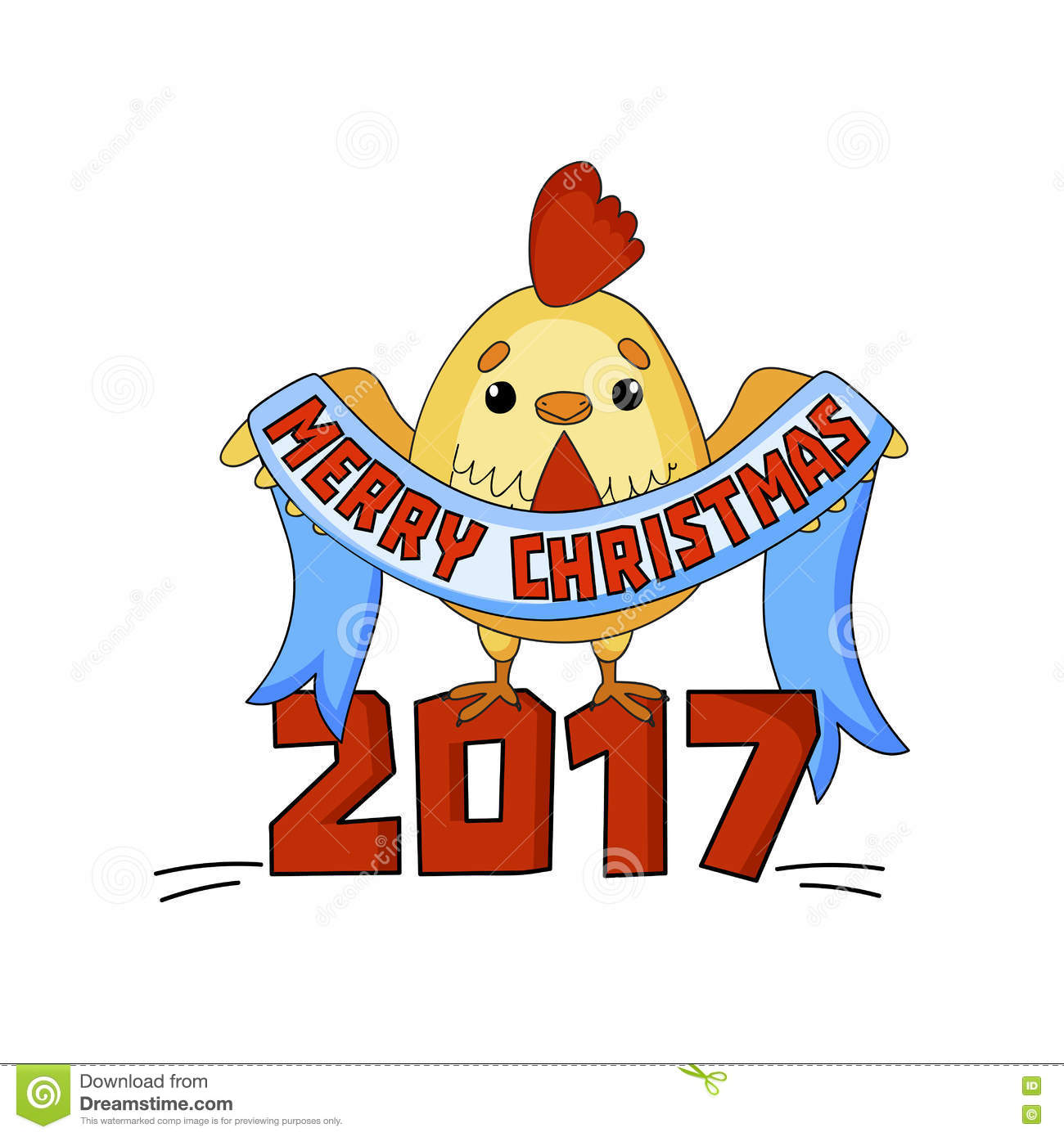 cartoon new year card with funny rooster on a white background