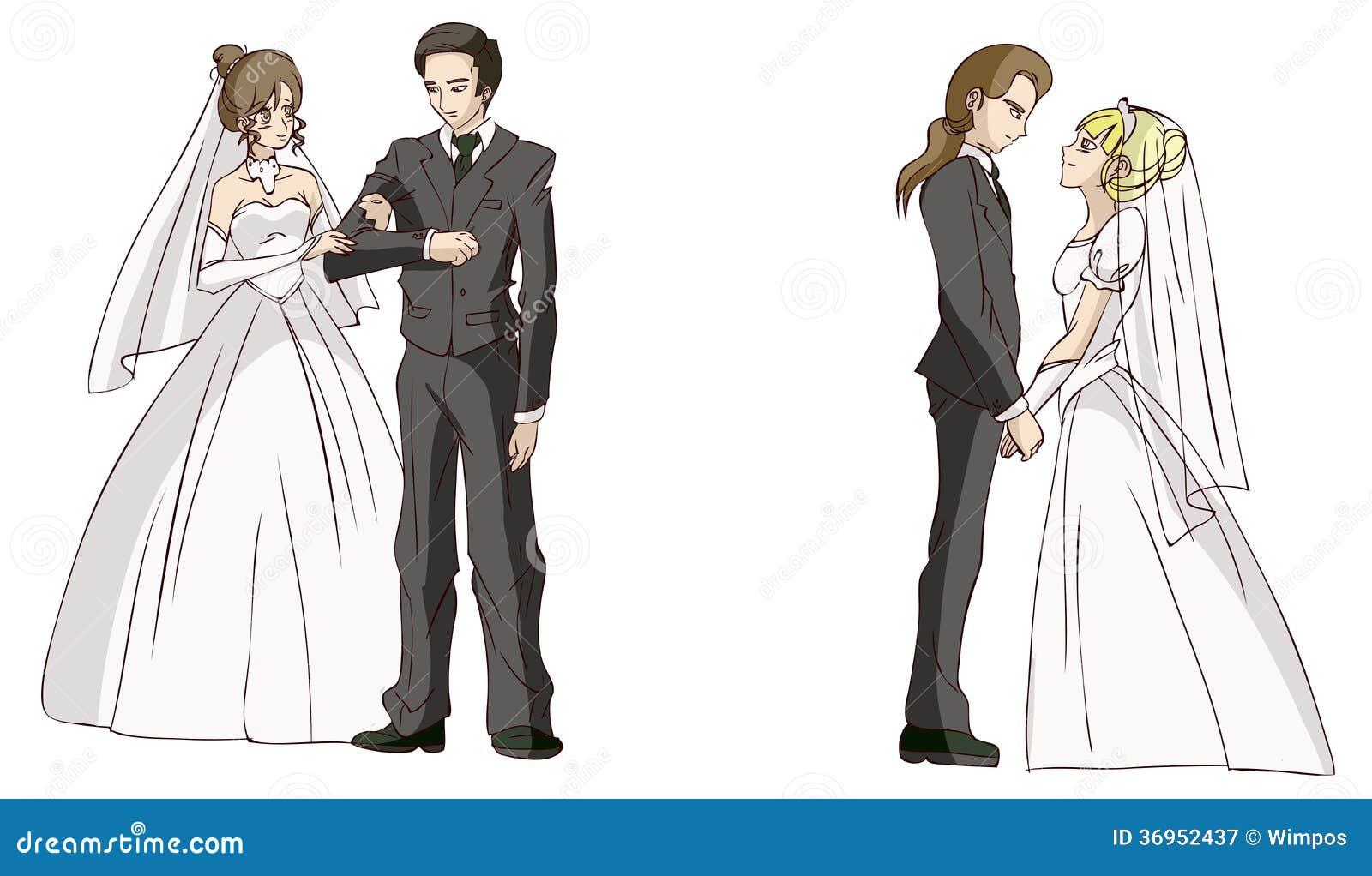 Cartoon Newlyweds Stock Illustration  Illustration Of