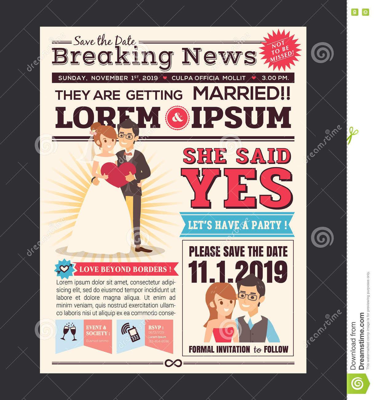 Cartoon Newspaper Wedding Invitation Card Design Stock