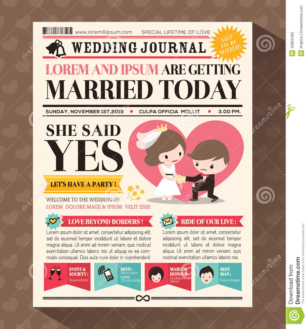 Cartoon newspaper wedding invitation card design stock vector cartoon newspaper wedding invitation card design stopboris Image collections