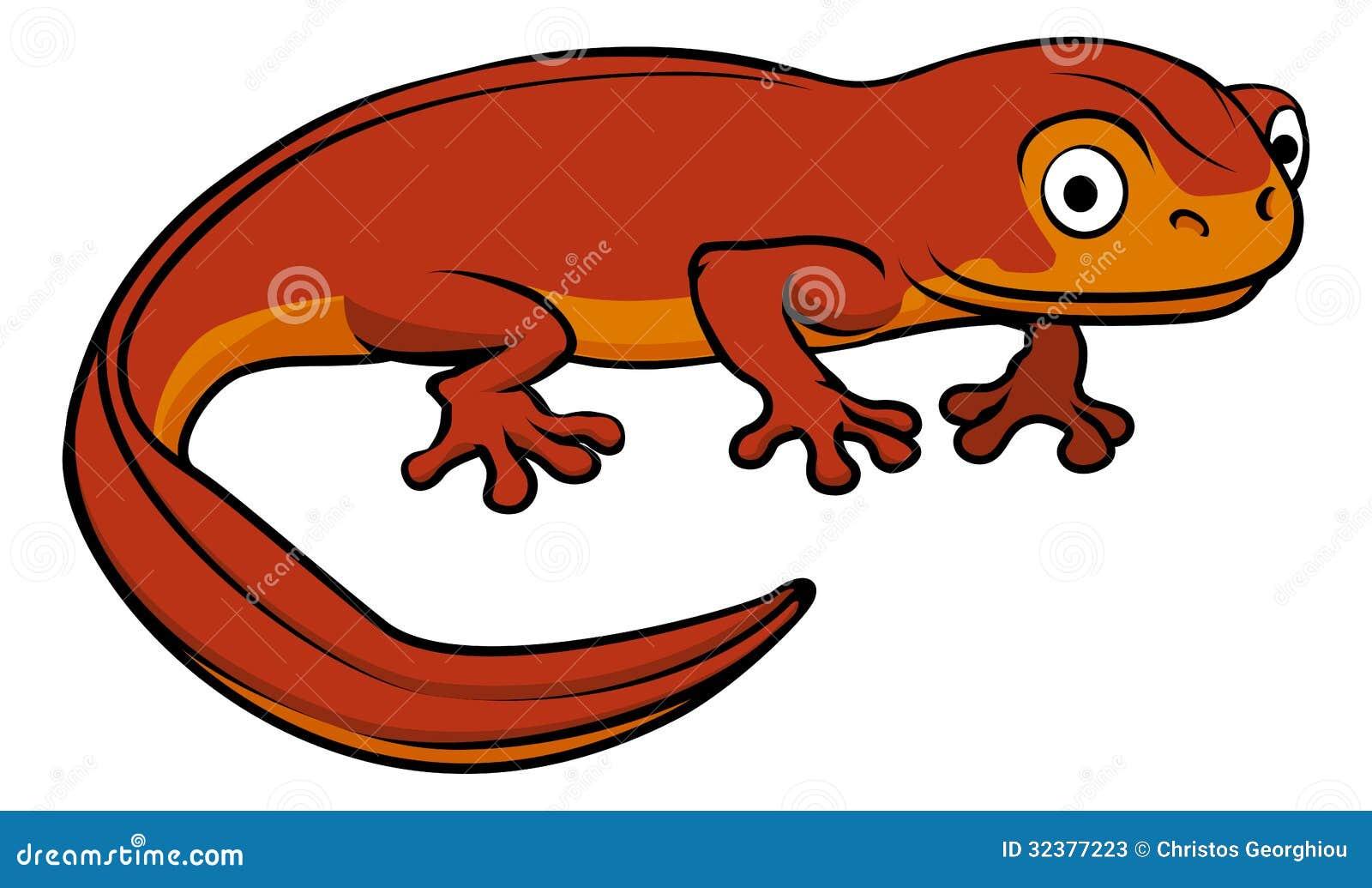 An illustration of a happy cute cartoon newt.