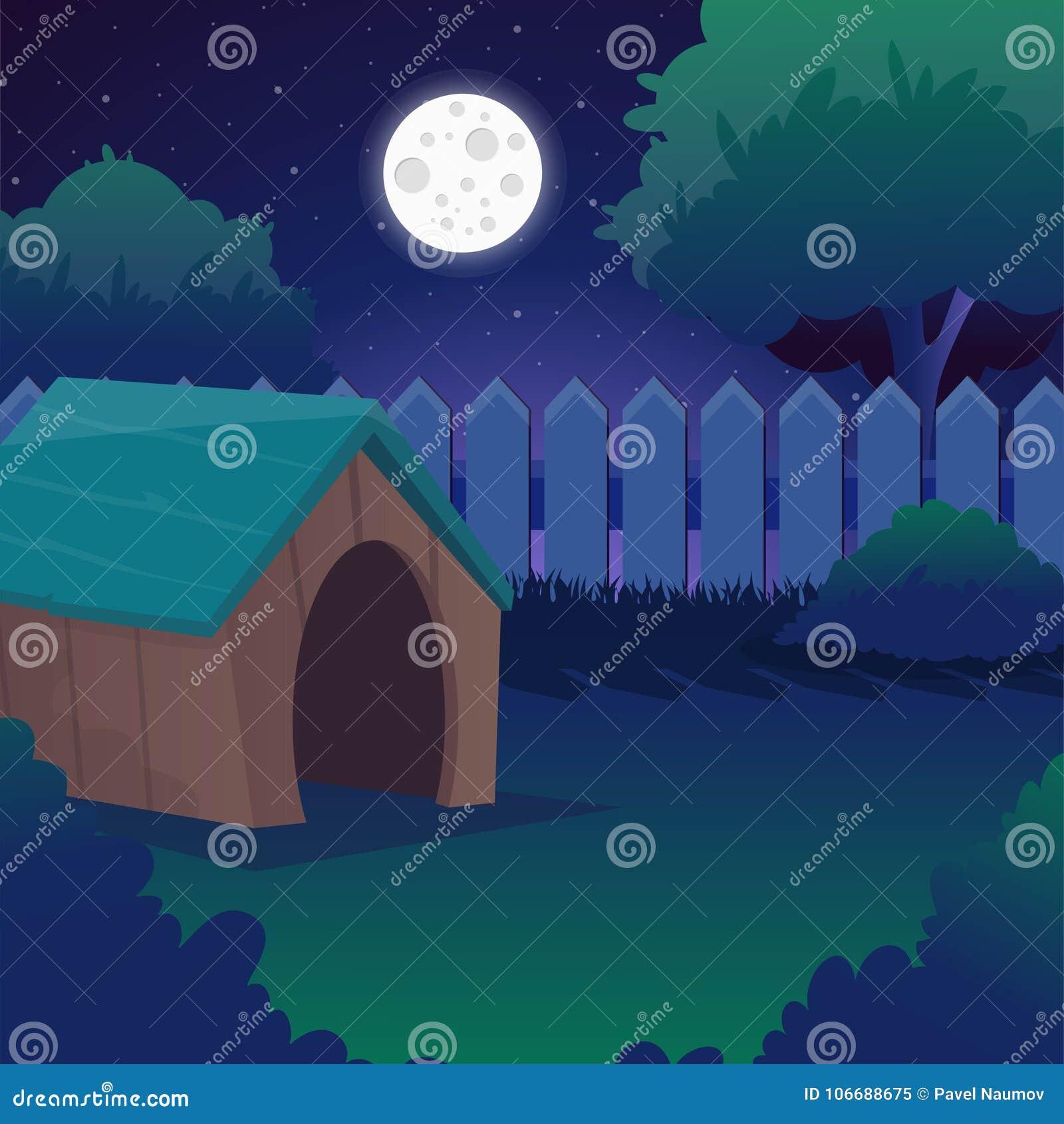 Cartoon Night Landscape With Starry Sky, Full Moon, Trees ...