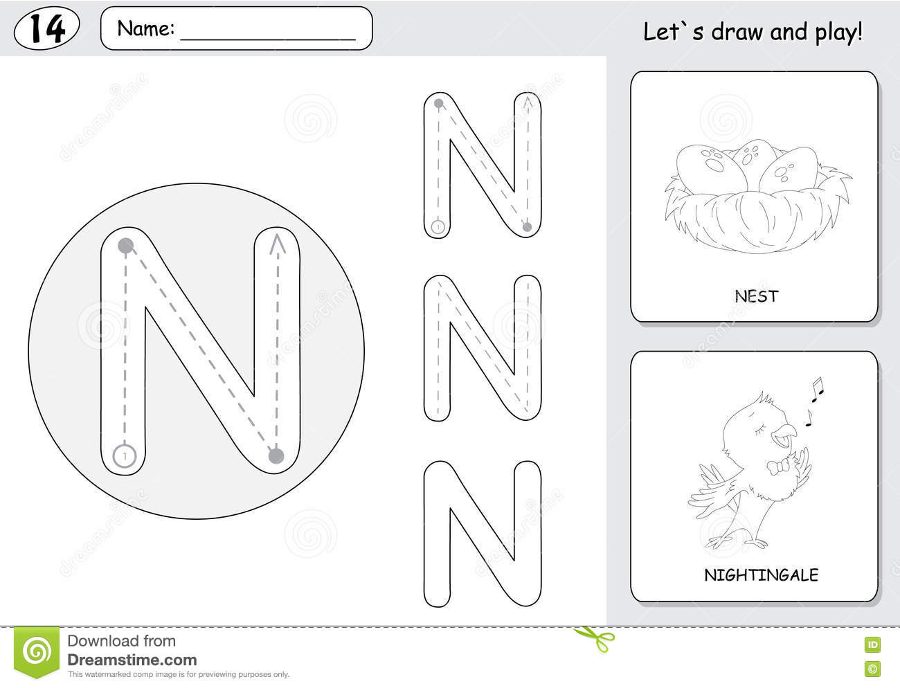 Cartoon Nightingale And Nest Alphabet Tracing Worksheet Writing A Z Coloring Book Educational Game For Kids