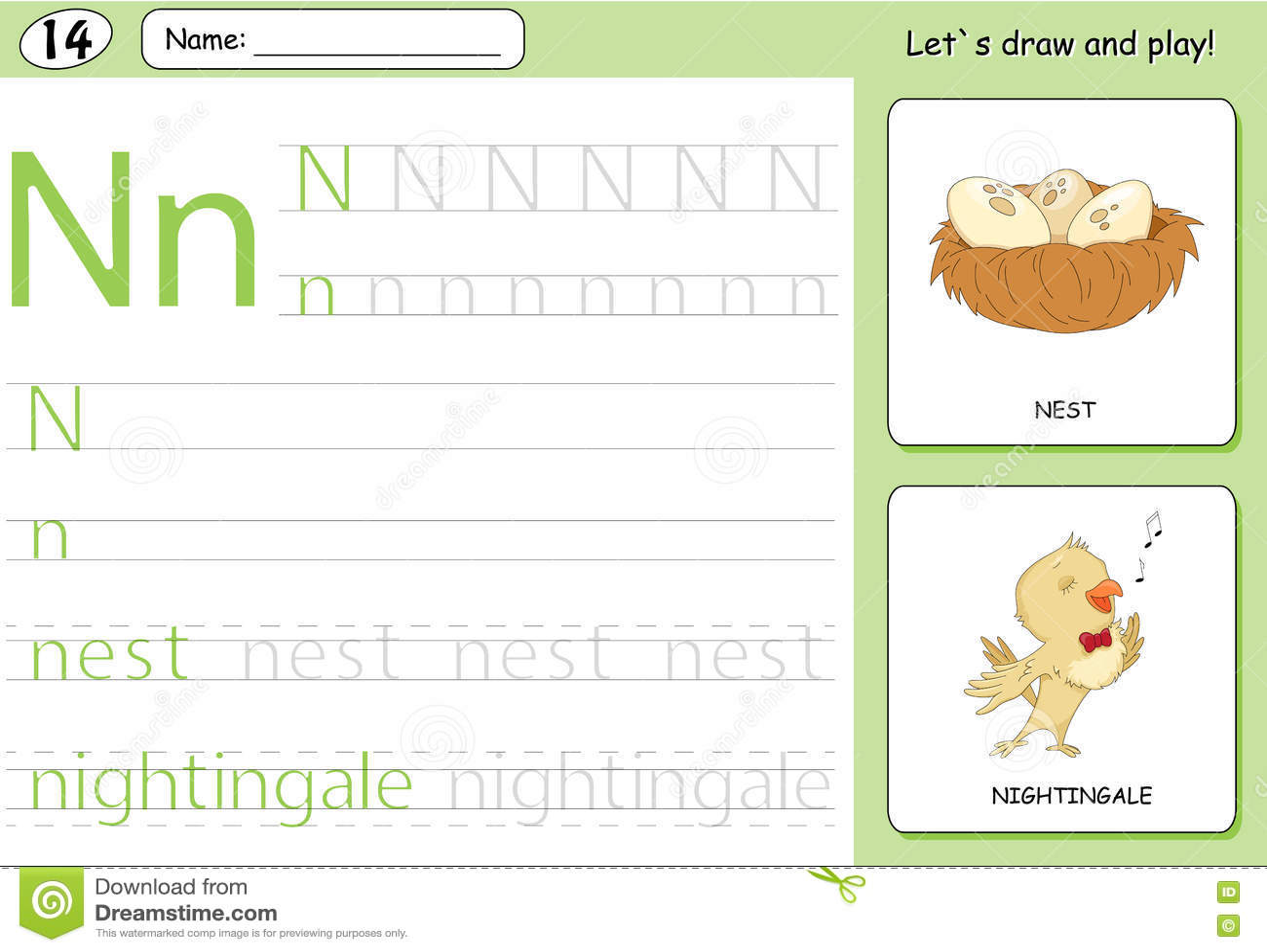 Download Cartoon Nightingale And Nest Alphabet Tracing Worksheet Stock Vector