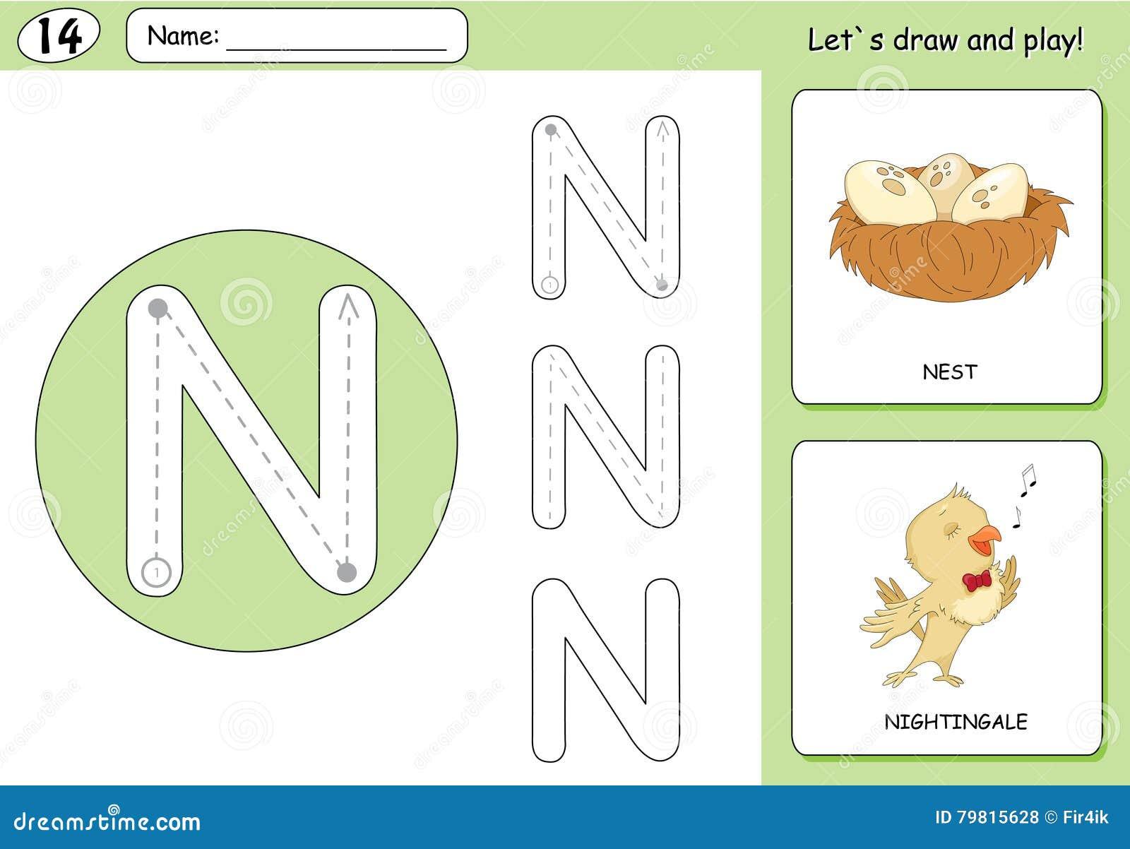 Cartoon Nightingale And Nest. Alphabet Tracing Worksheet Stock ...