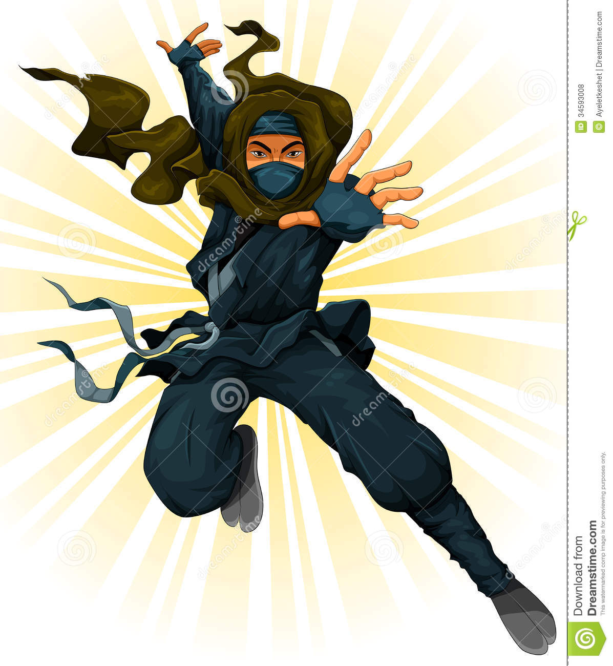 Cartoon fat ninja in grunge ray ad vector