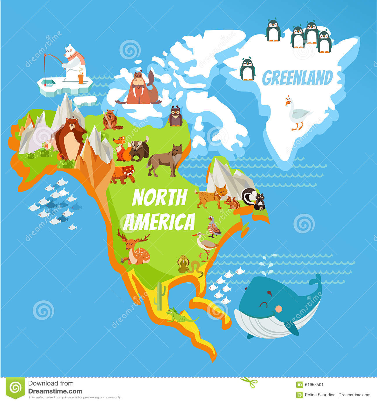 Cartoon map of North America continent and Greenland with cute cartoon ...