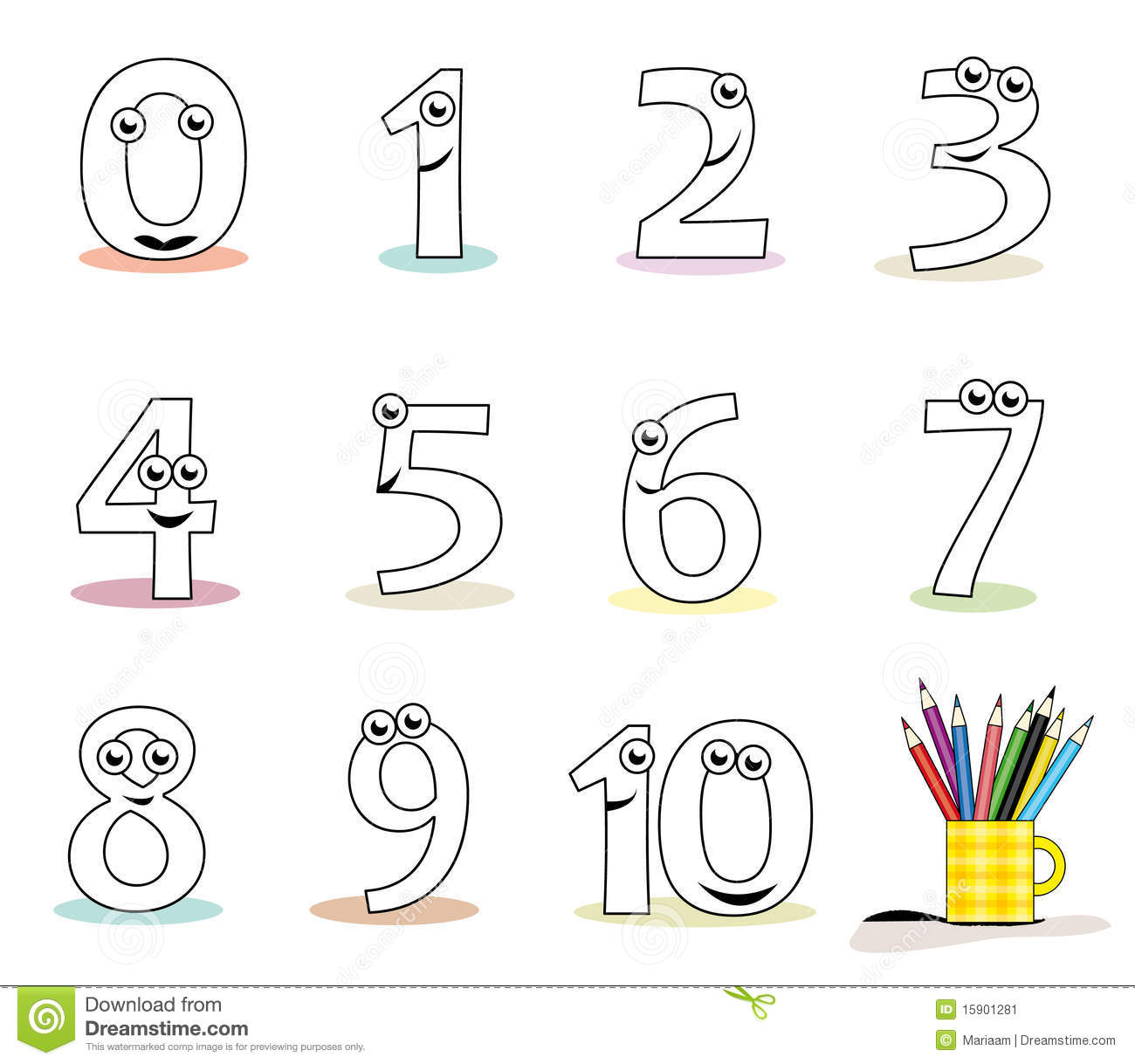 Funny cartoon numbers in black and white. Useful for colouring book ...