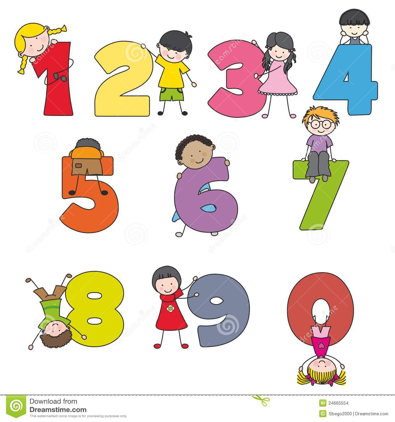 Cartoon Numbers And Children Stock Vector - Illustration of ...