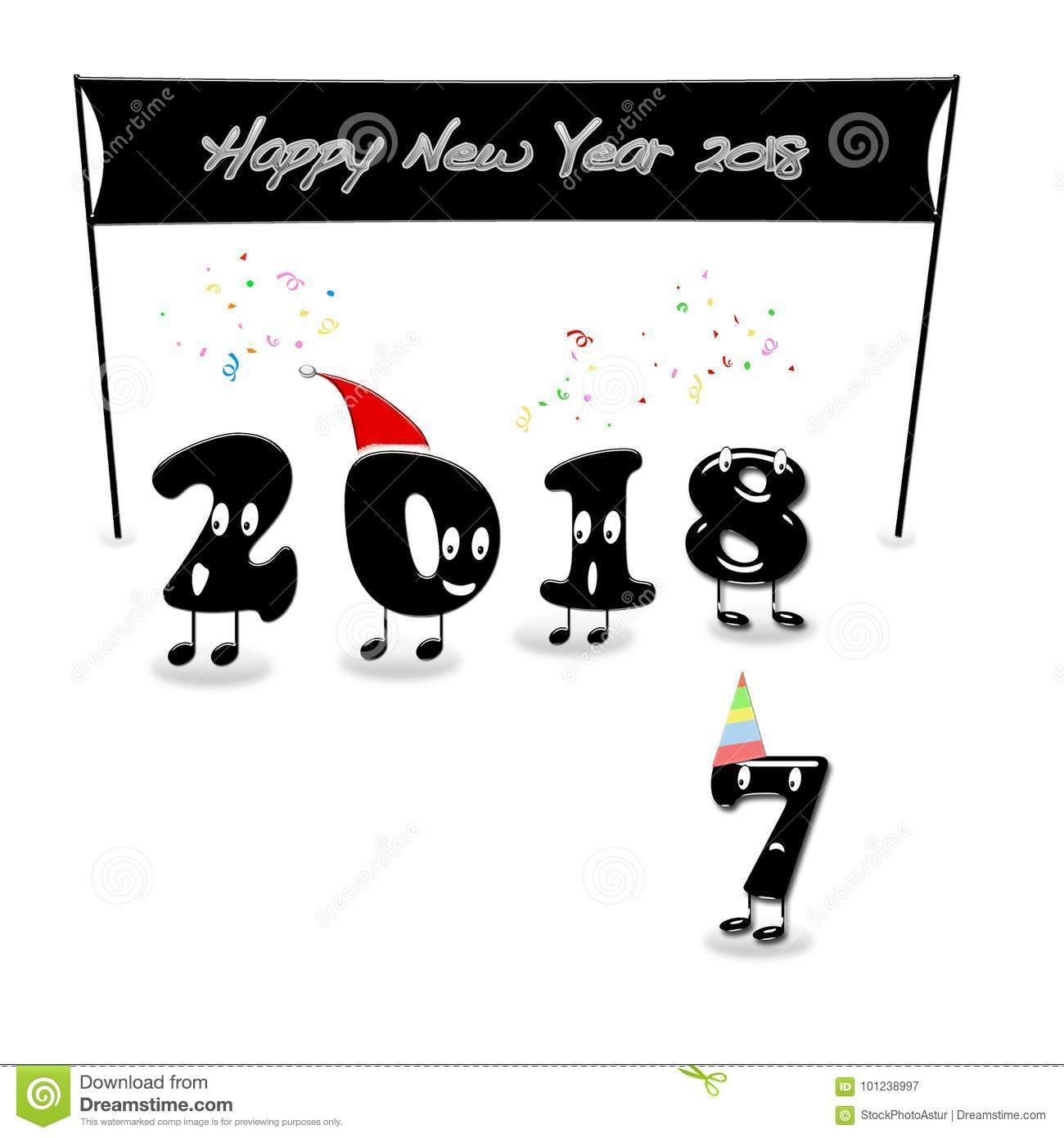 animated numerals of 2018 year congratulating with new year