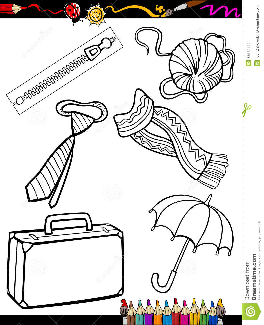 cartoon objects coloring page stock photography image 33524592