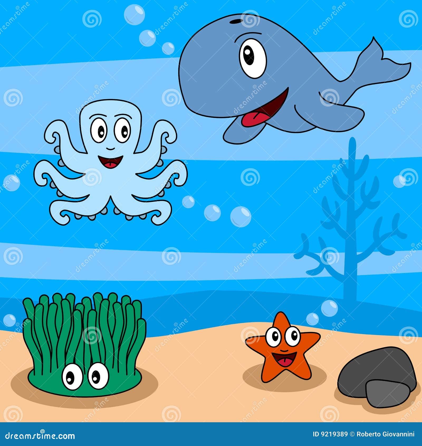 Cartoon ocean life 2 stock vector illustration of group 9219389 cartoon ocean life 2 voltagebd Gallery