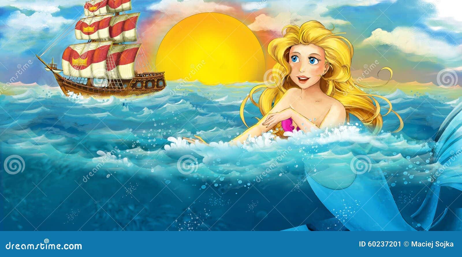 Cartoon ocean and the mermaid
