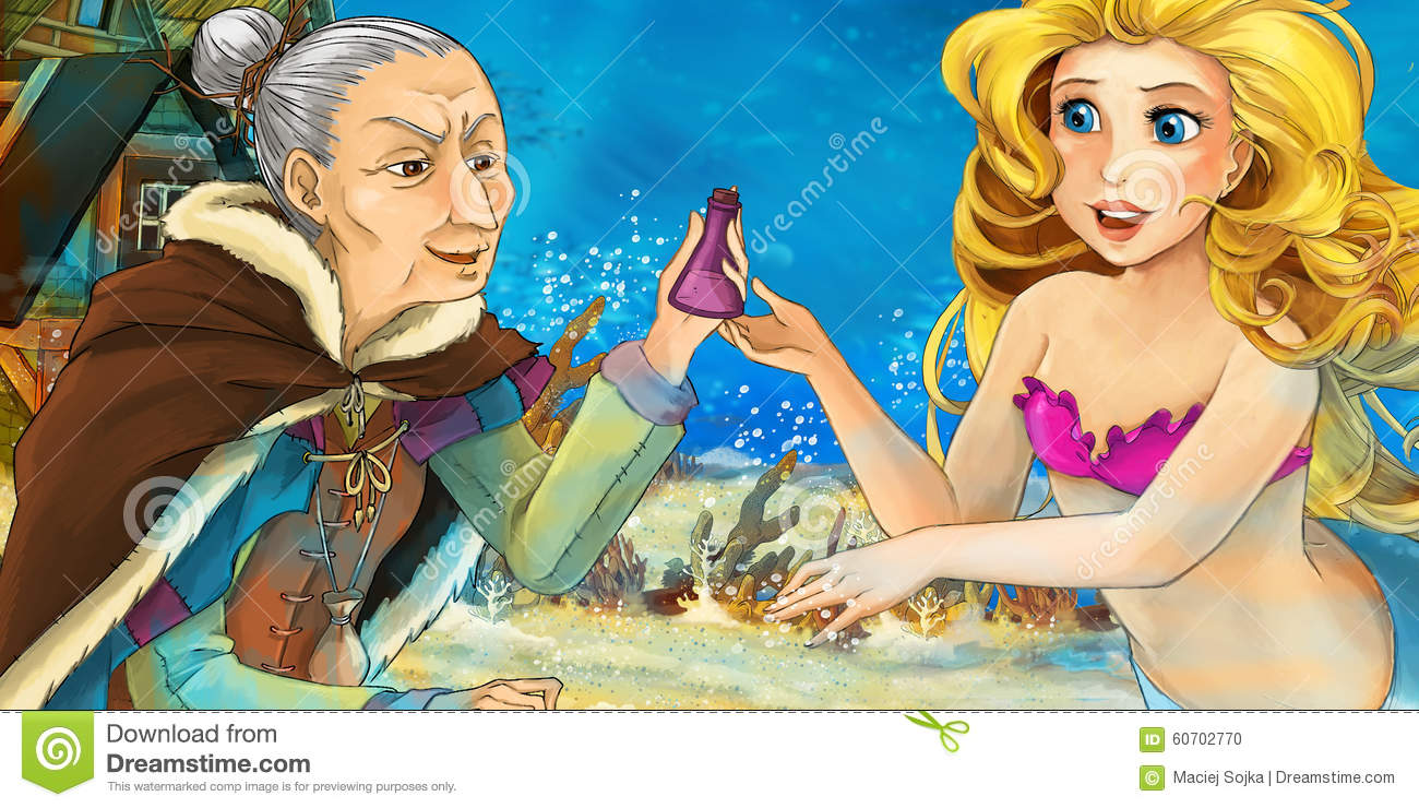 cartoon ocean and the mermaid talking to an old woman stock