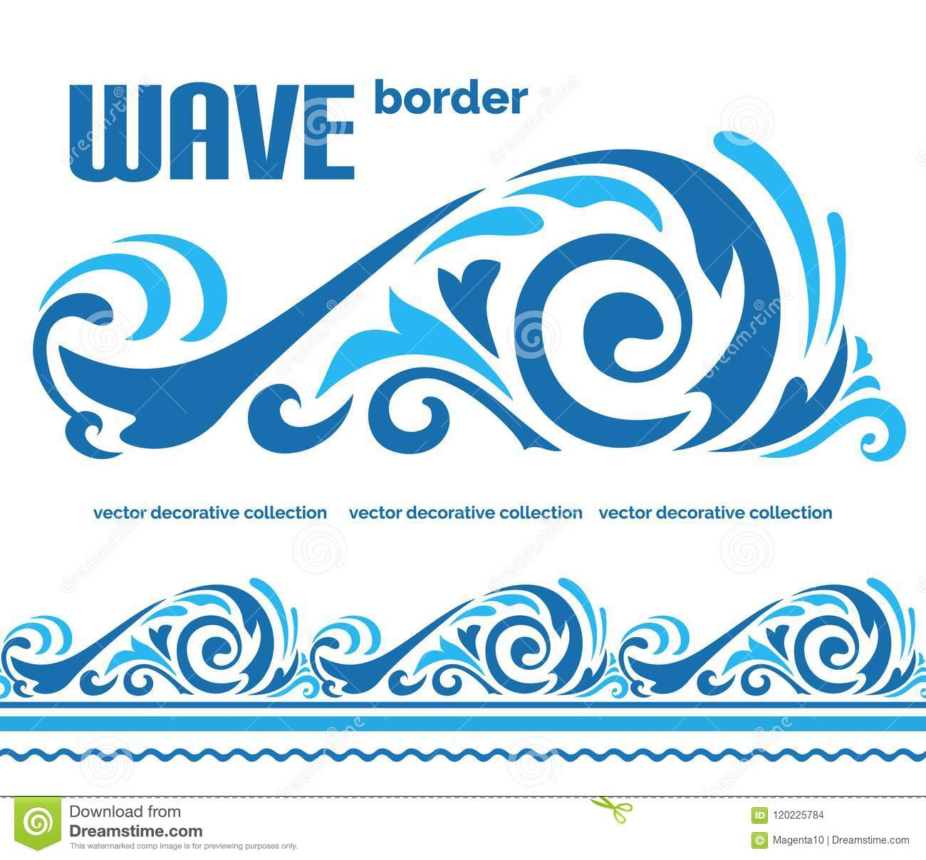 Blue ocean wave, sea water border ornament