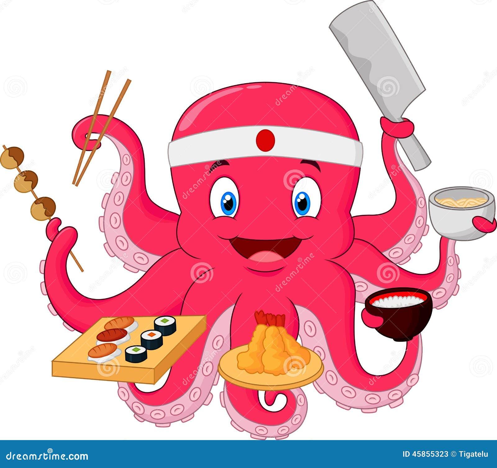 Cartoon Octopus Chef Stock Vector - Image: 45855323