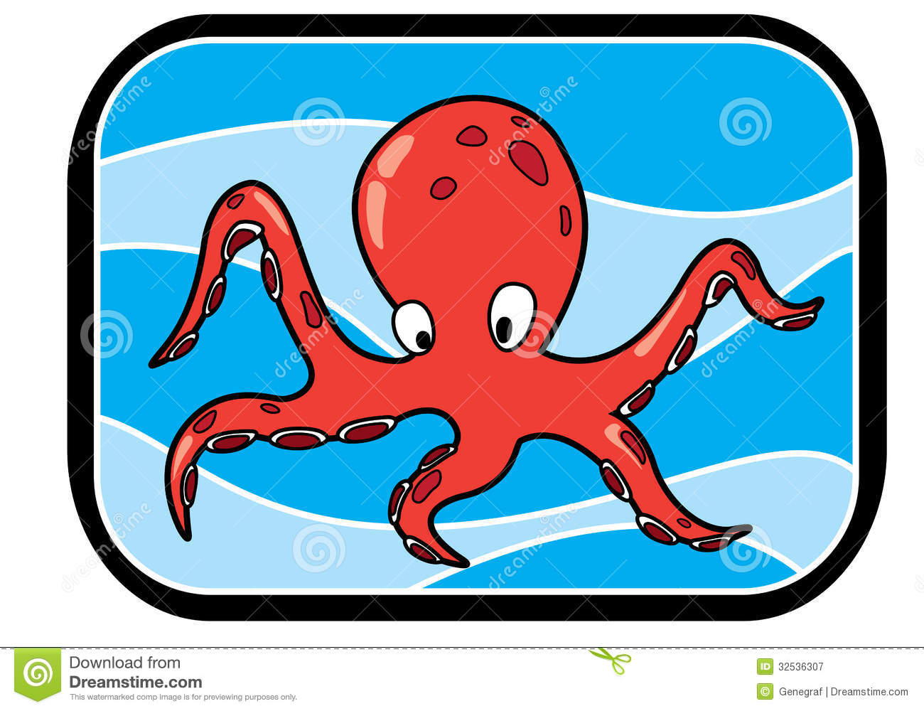 Cartoon Octopus In Ocean Royalty Free Stock Photography - Image ...