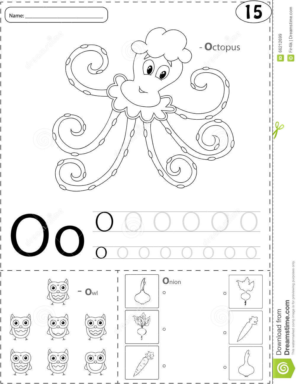 Cartoon Octopus, Owl And Onion. Alphabet Tracing Worksheet ...