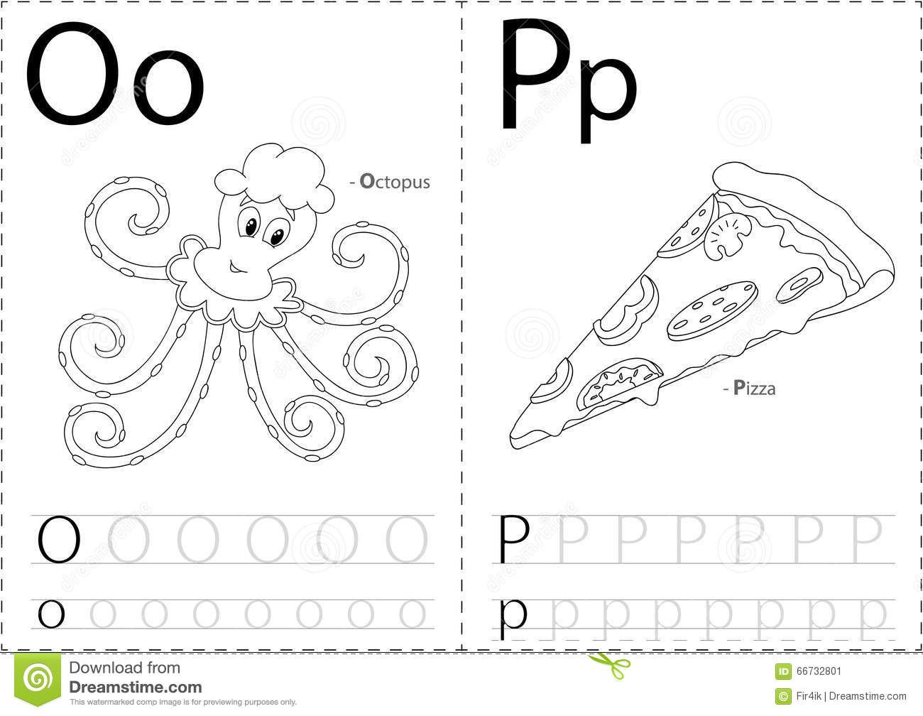 Cartoon Octopus And Pizza. Alphabet Tracing Worksheet: Writing A ...