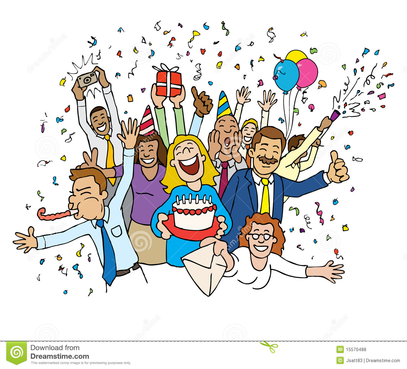 Celebration - Cartoon Office Celebration Royalty Free Stock Photos