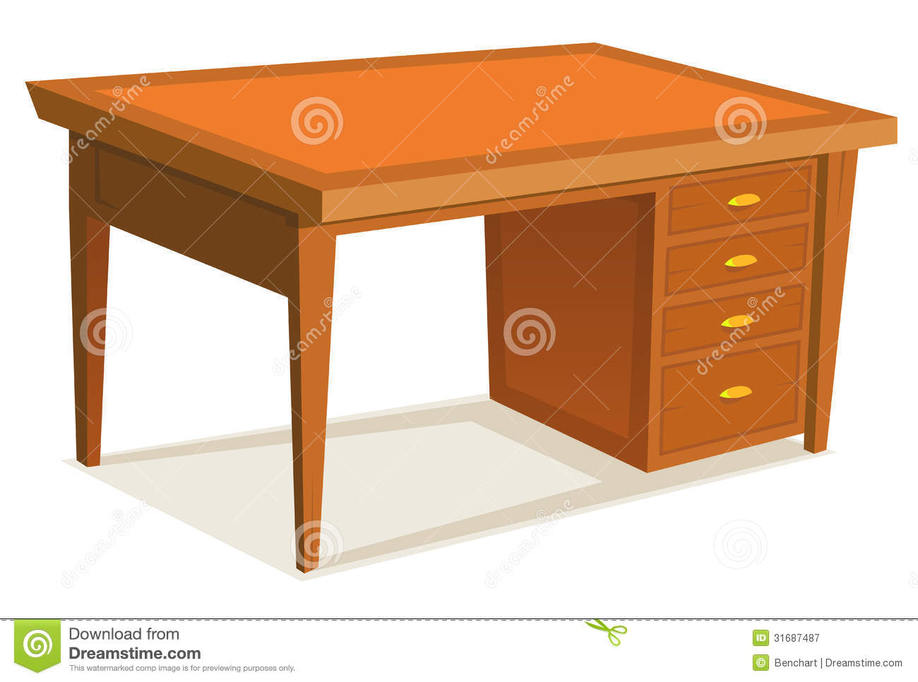 Cartoon office desk stock vector illustration of interior 31687487 - Furniture picture ...