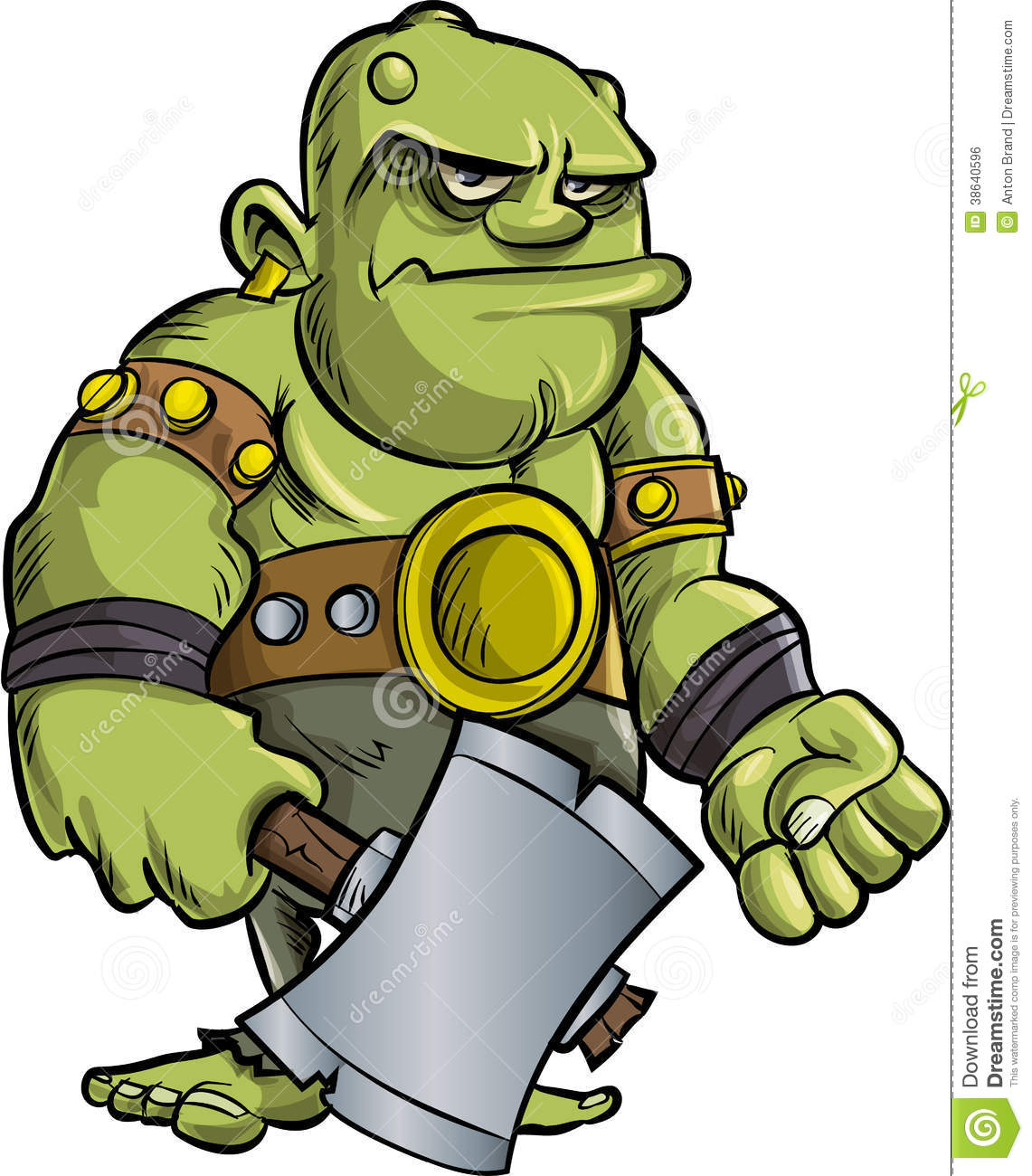 cartoon ogre with a big axe royalty free stock image