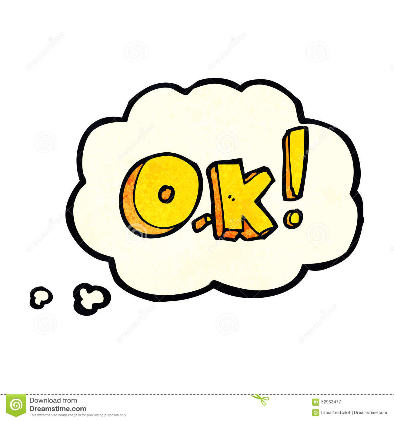 Cartoon OK Symbol With Thought Bubble Stock Illustration - Image ...