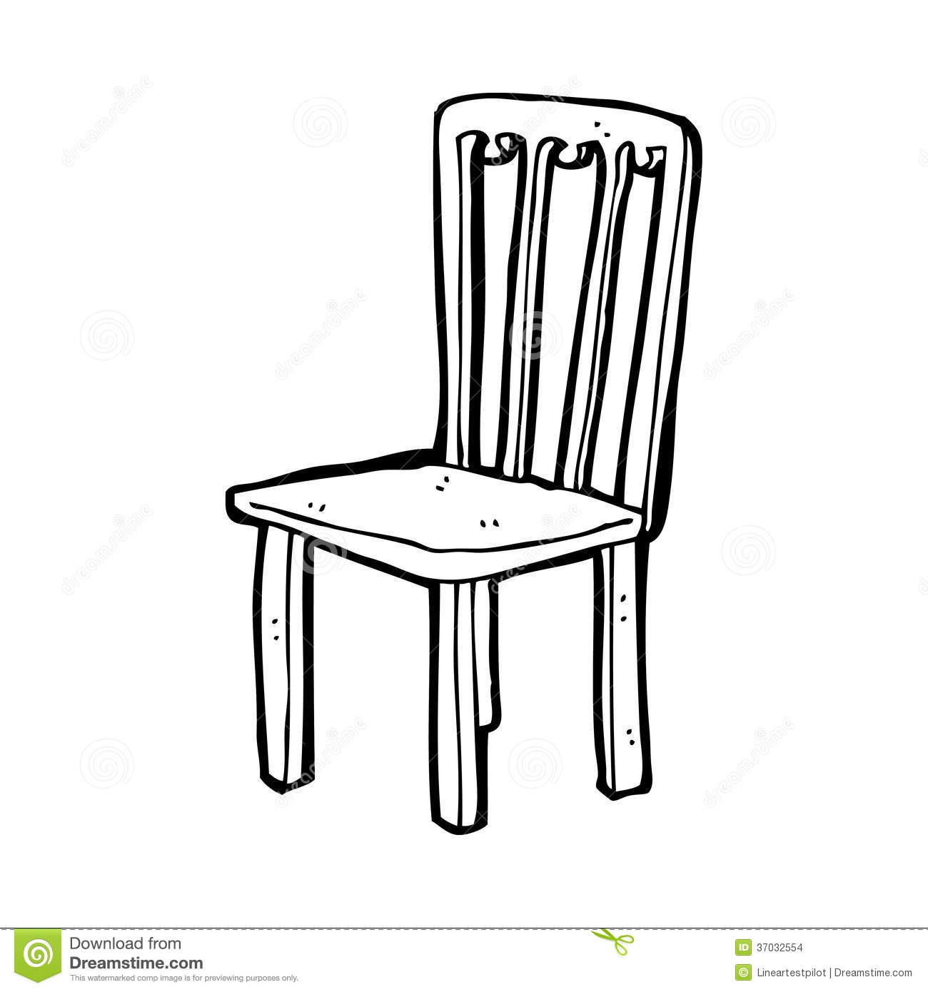 Line Drawing Chair : Cartoon old chair stock illustration of