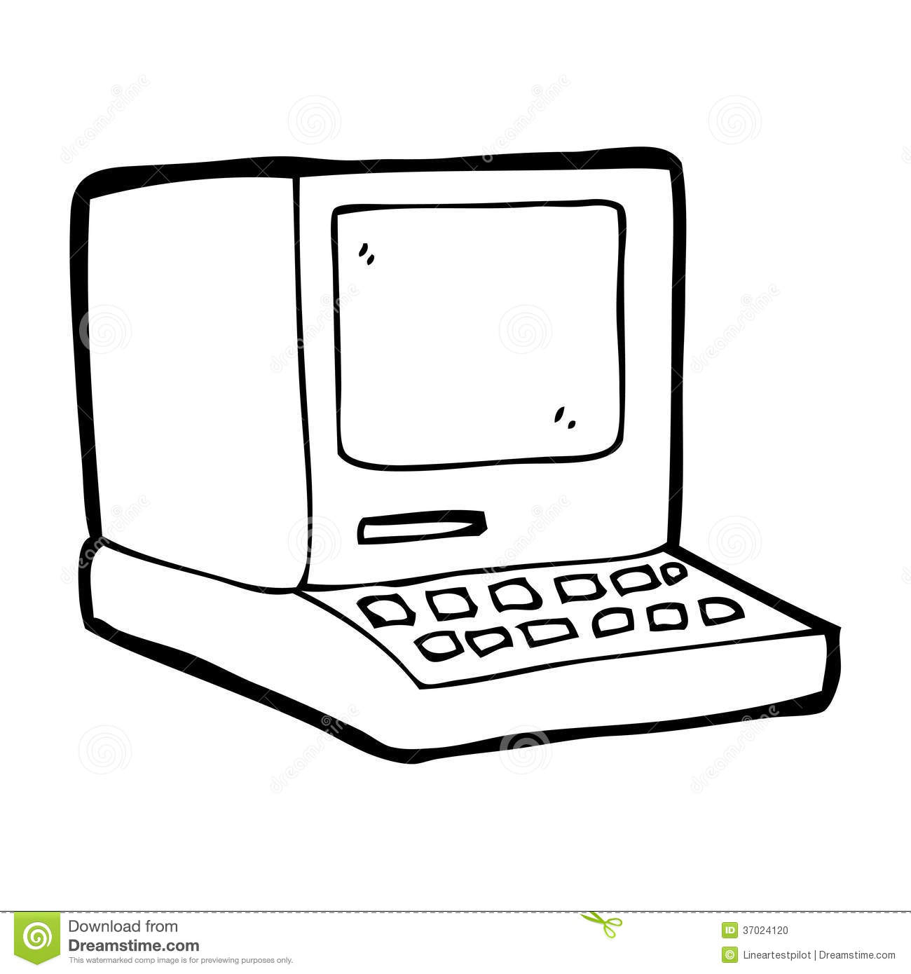 Cartoon Old Computer Stock Photo - Image: 37024120