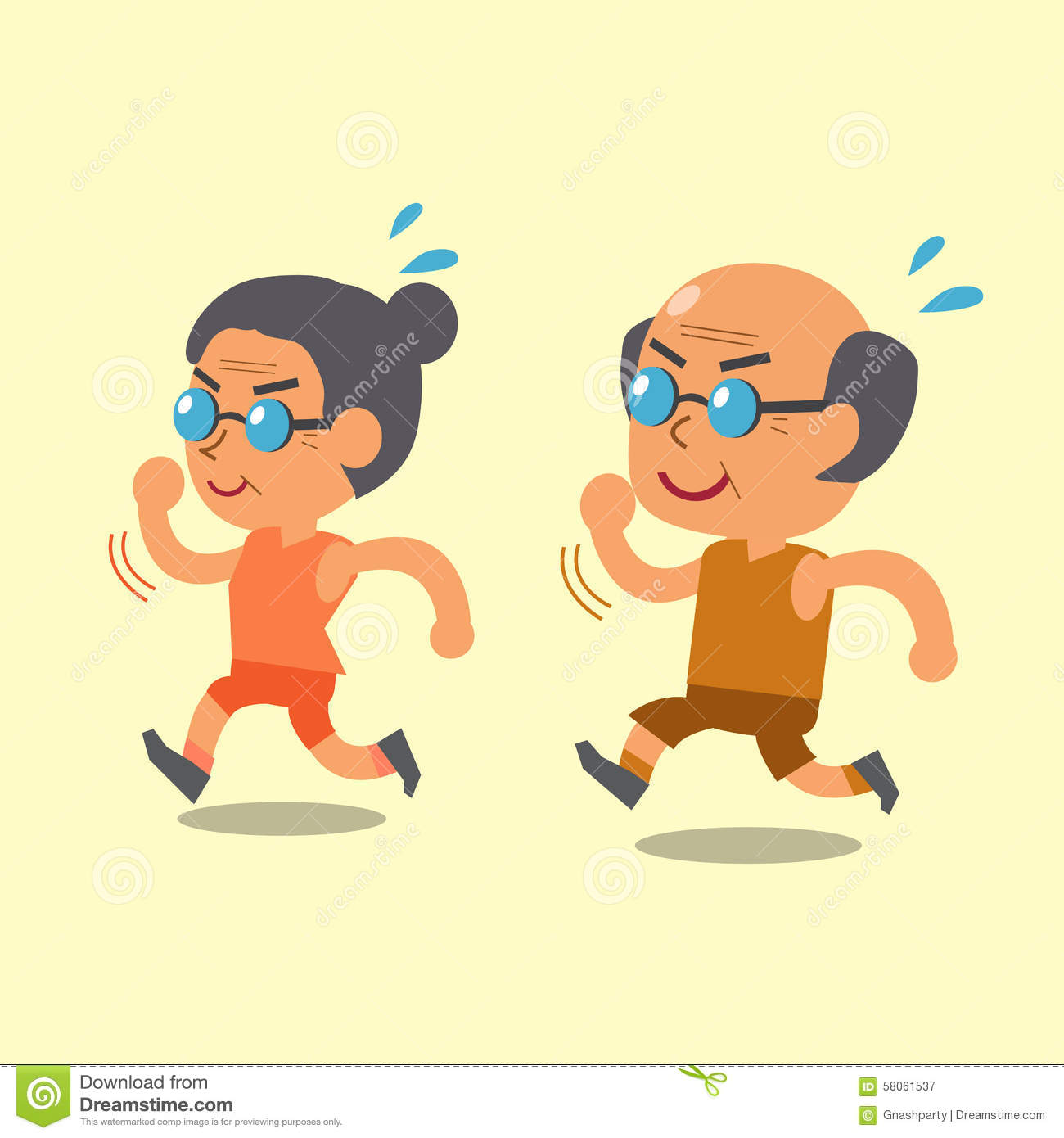 Cartoon Old Man And Old Woman Running Together Stock ...