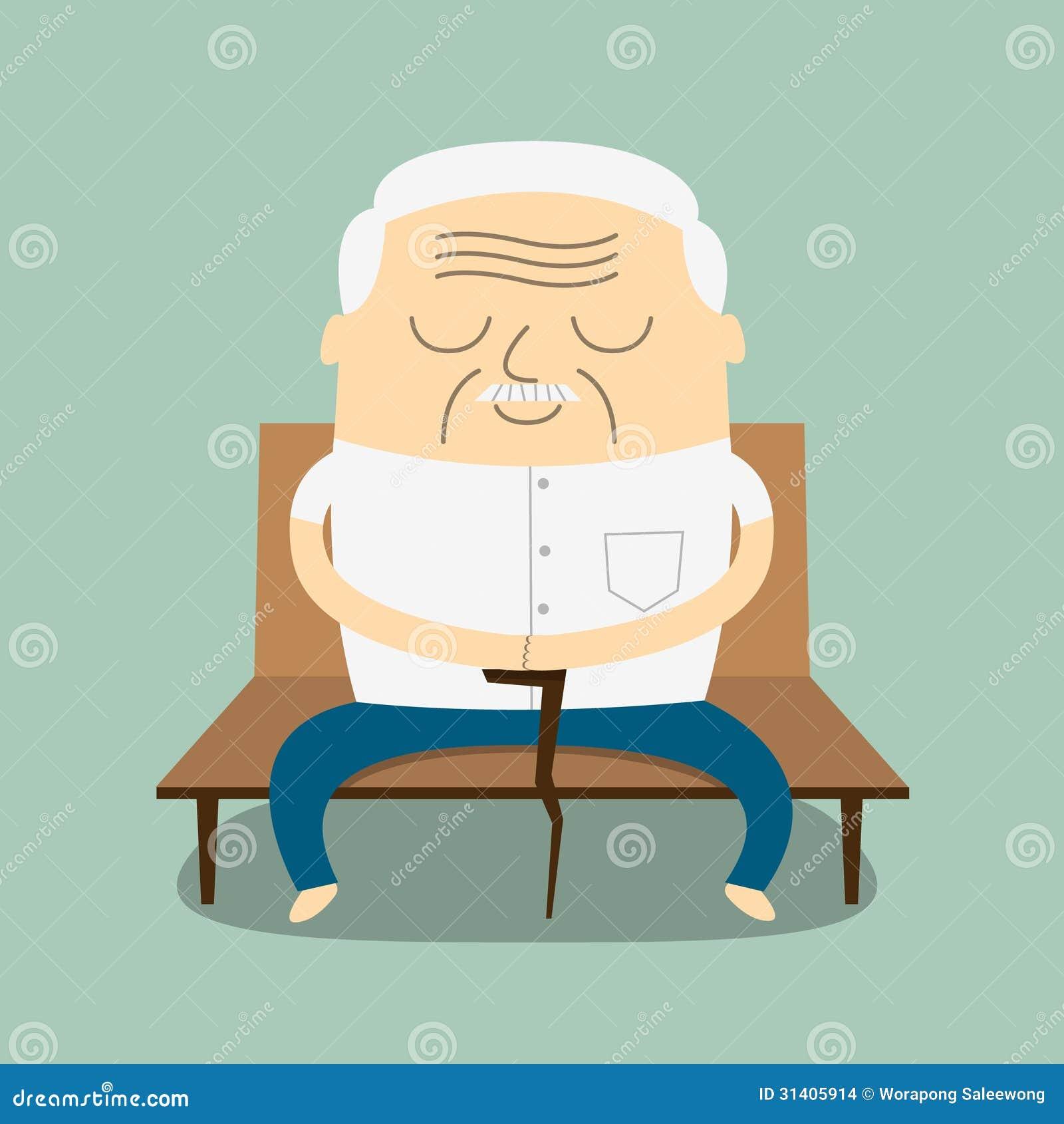Cartoon Old Man Sitting On Bench Stock Vector ...