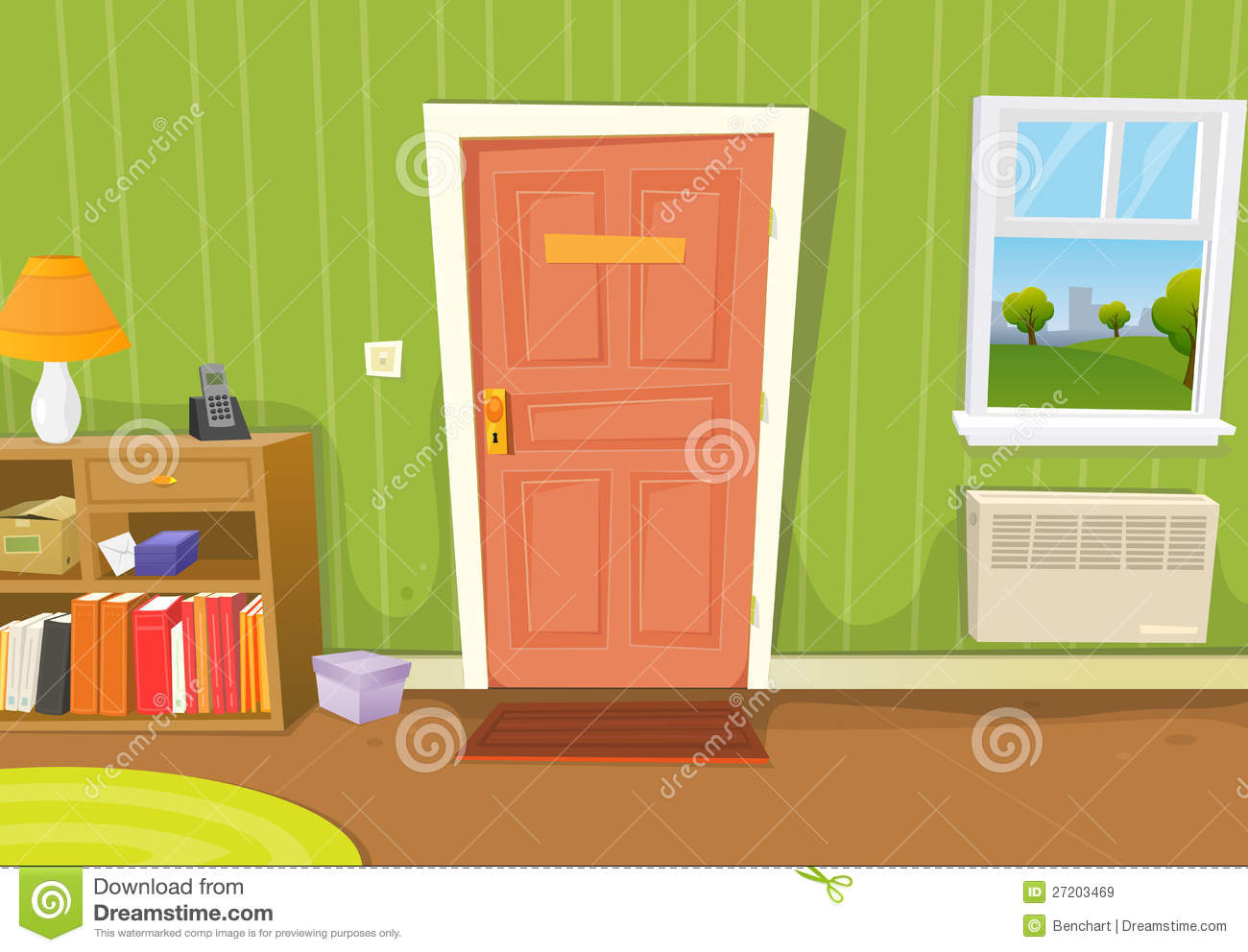 Illustration Of A Cartoon Home Interior With Living Room Door Entrance