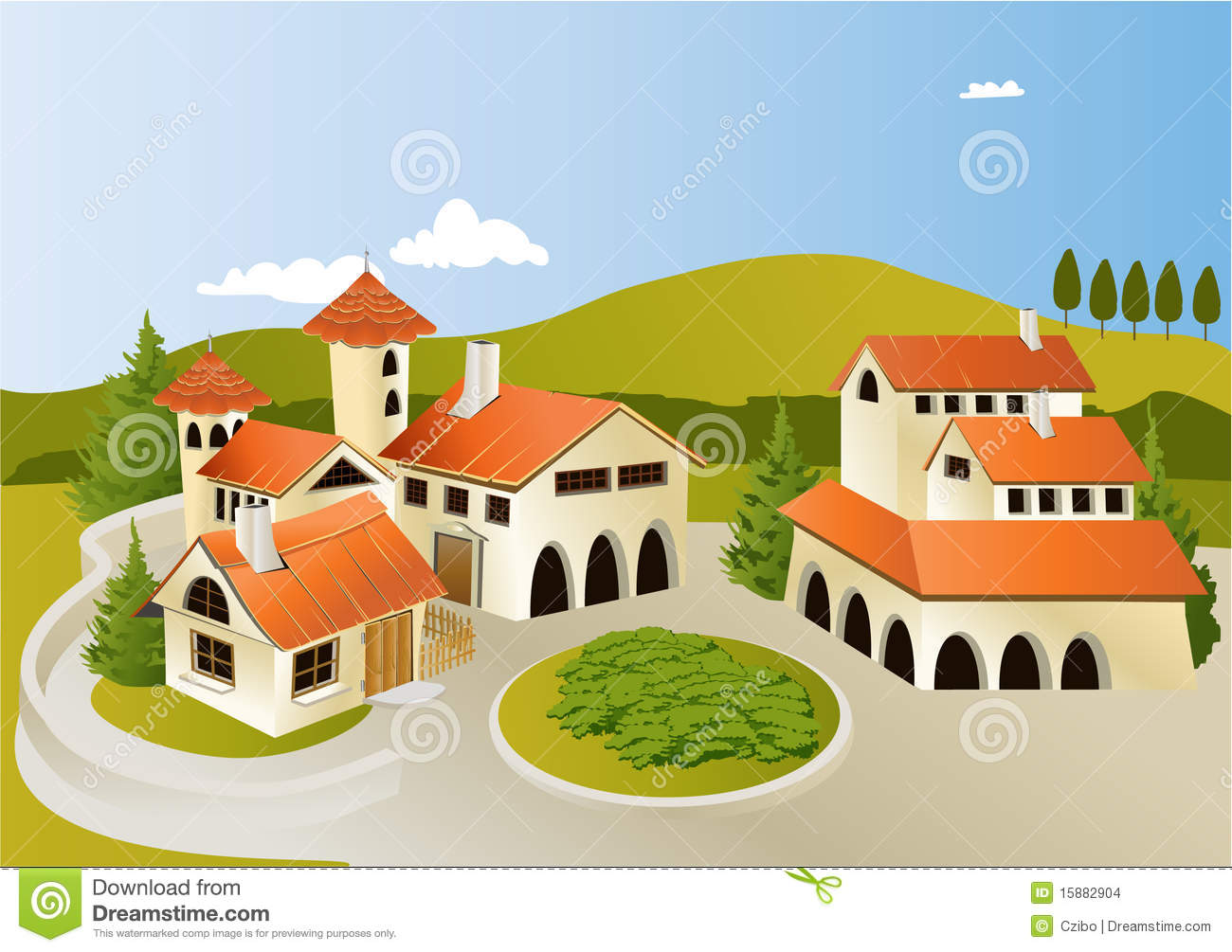 Town Landscape Vector Illustration: Cartoon Old Town Stock Images
