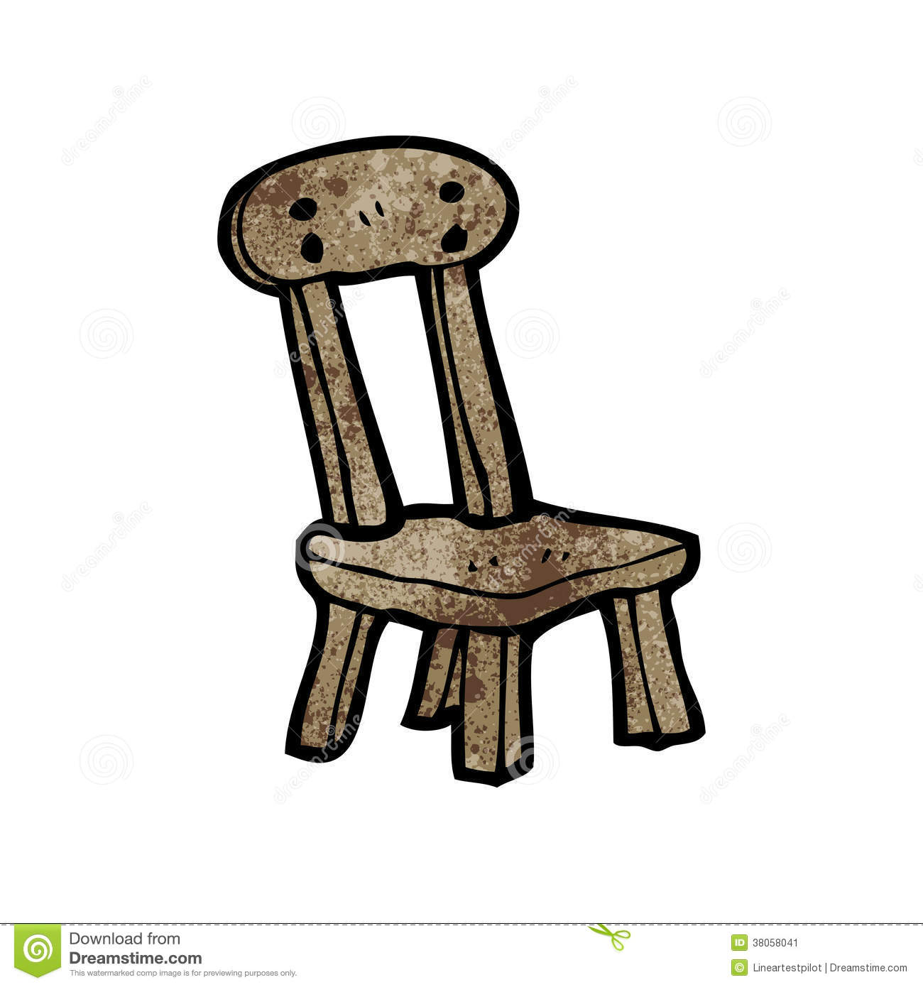 Cartoon old wooden chair stock image