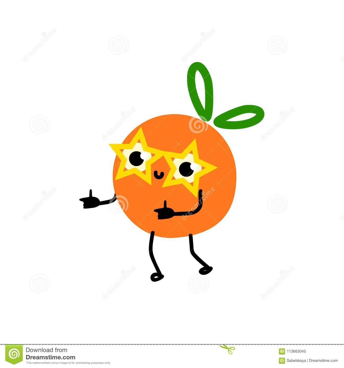 2412493edaf Royalty-Free Vector. Cartoon orange party character in funny glasses