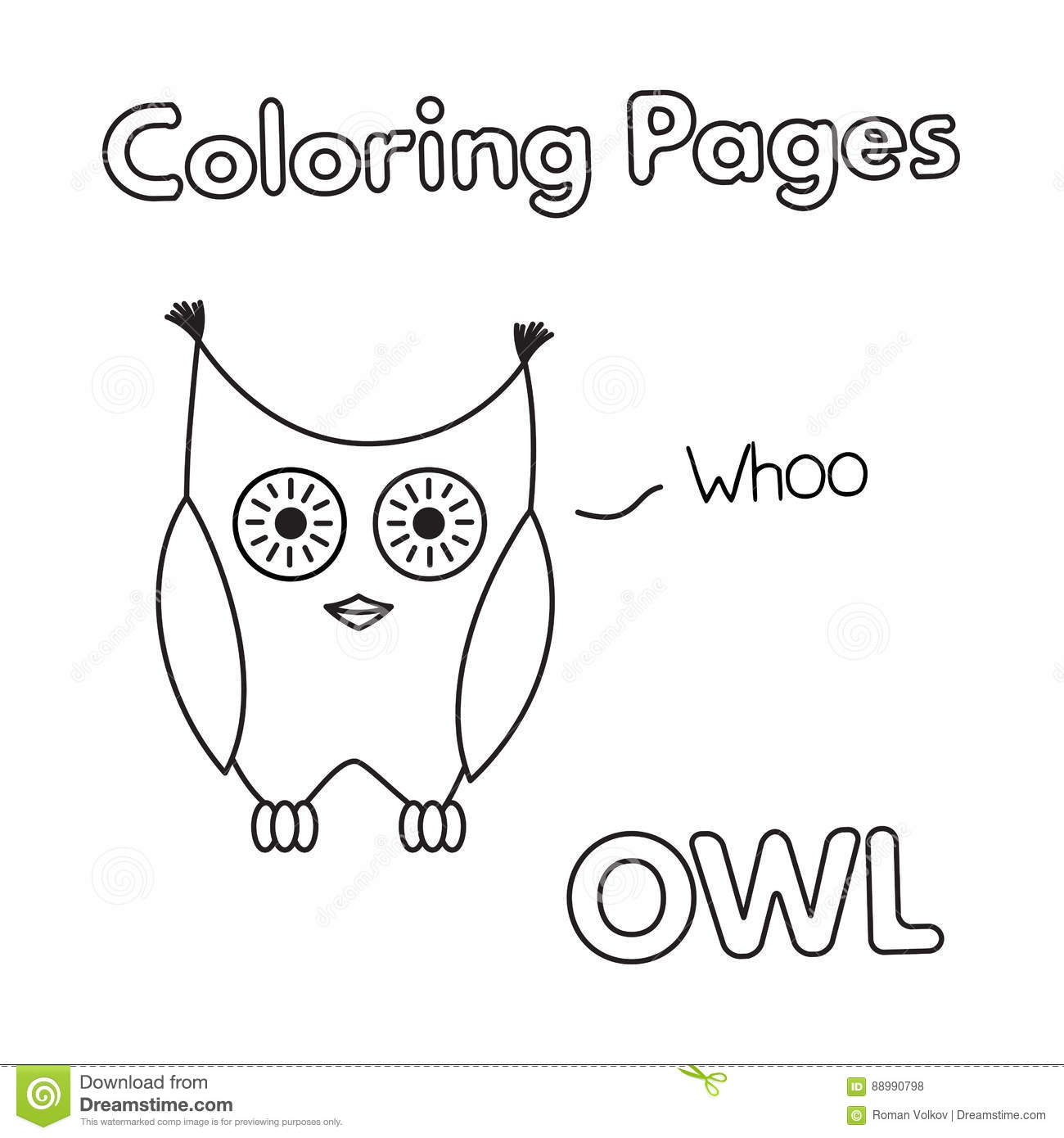 Cartoon Owl Coloring Book Stock Vector Illustration Of Colouring