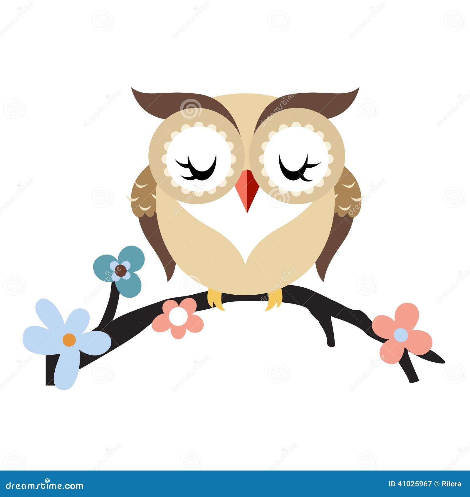 Cute cartoon owls on a branch - photo#19