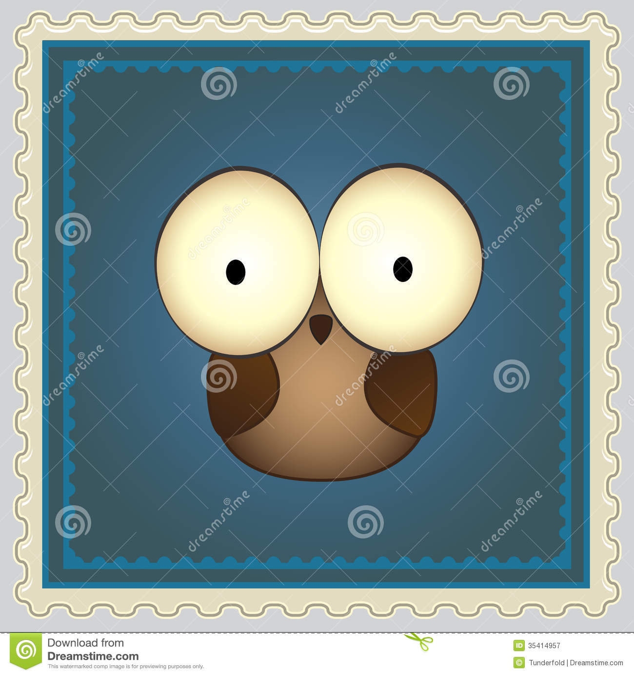 Cartoon Owl Postage Stamp