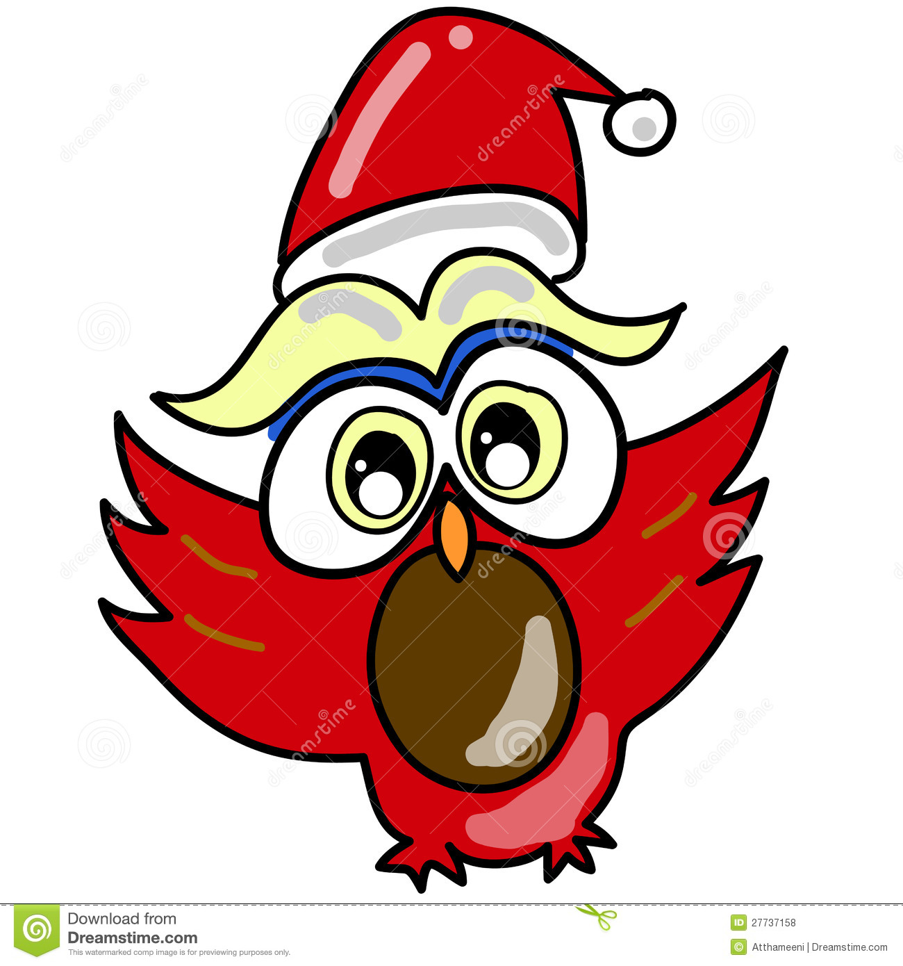 Cartoon owl in santa hat hand drawn royalty free stock photos image