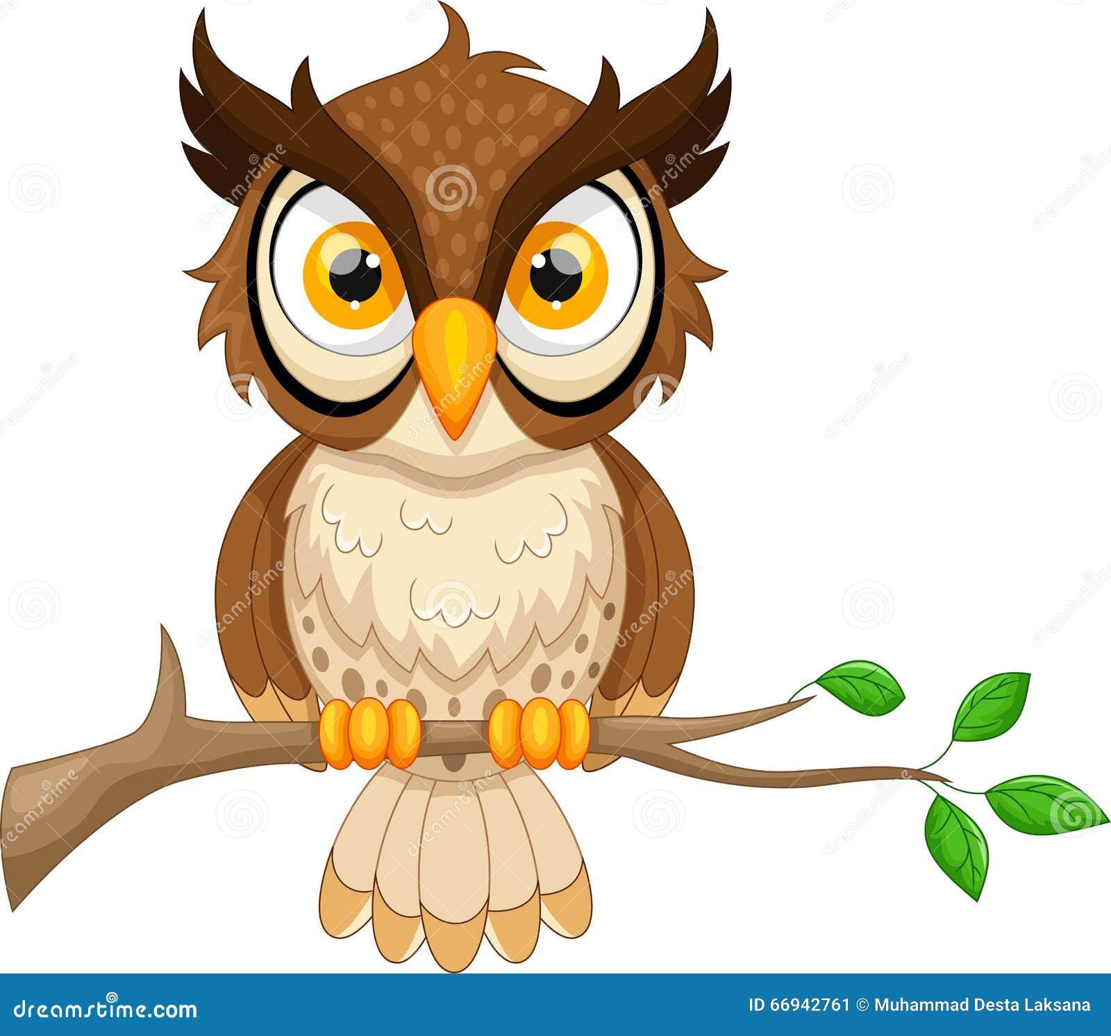 Cartoon Owl Sitting On Tree Branch Stock Illustration ...