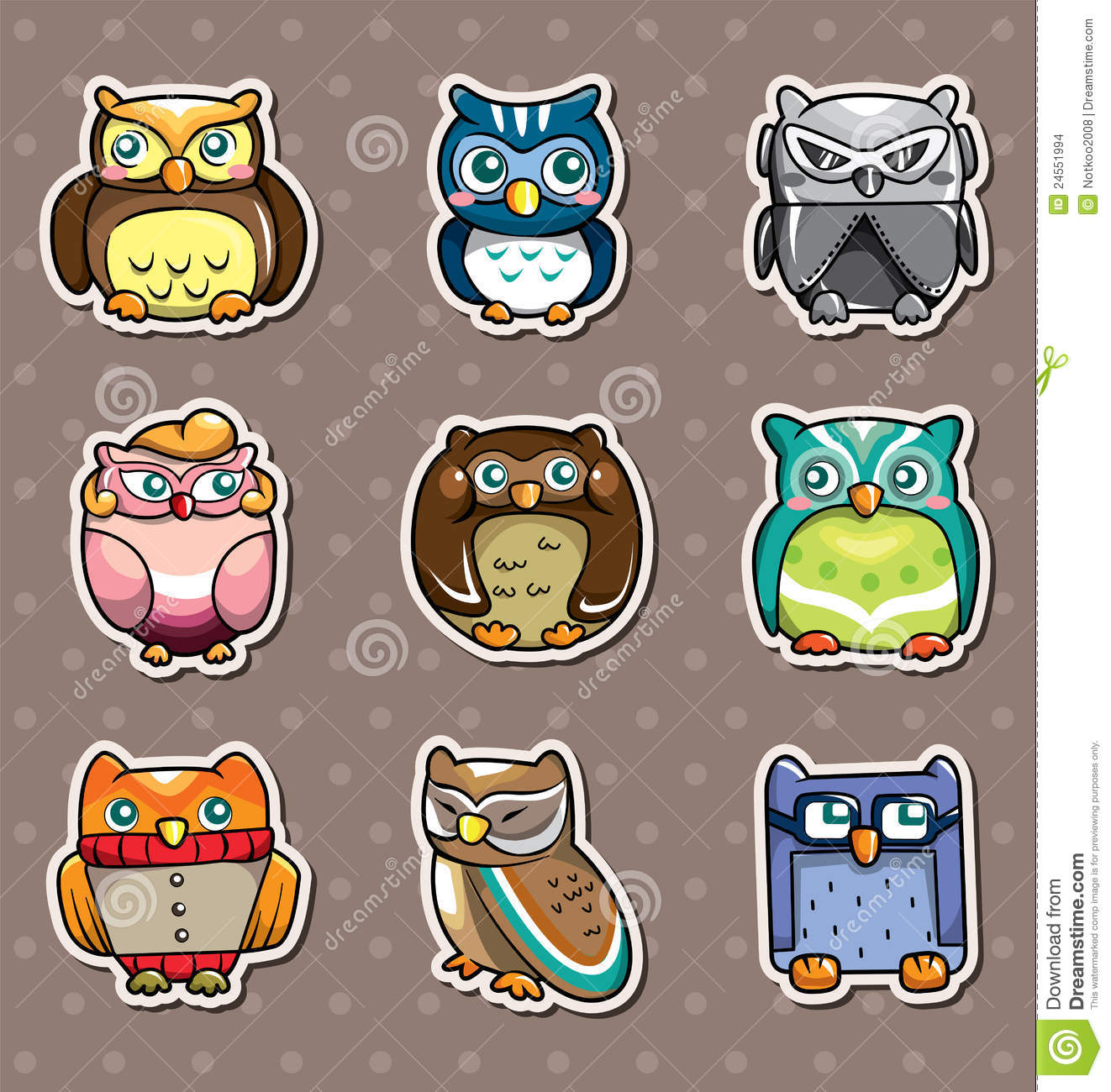 cartoon owl stickers stock images image 24551994