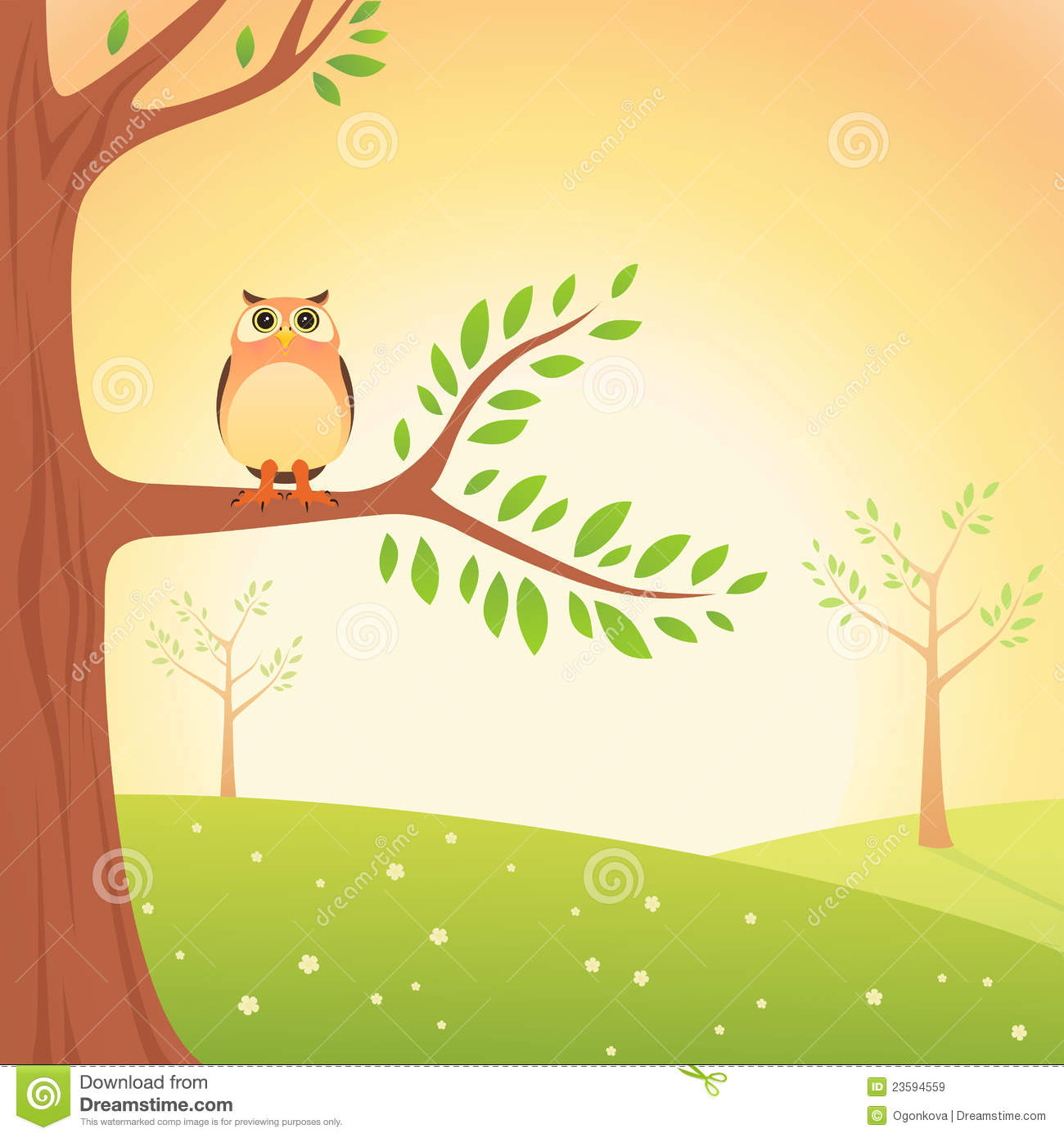 Owl Cartoon In Tree
