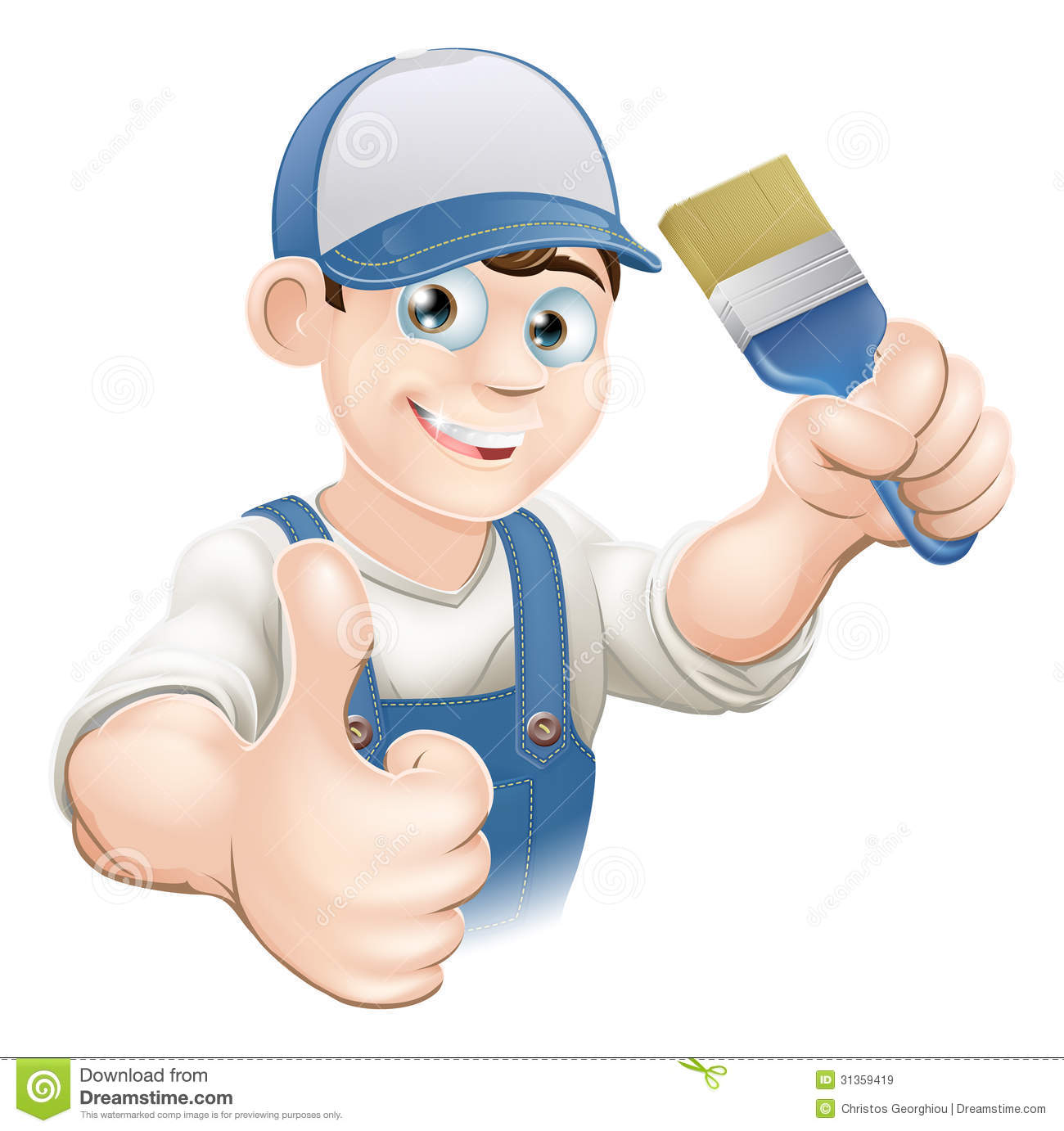 Http Www Dreamstime Com Royalty Free Stock Images Cartoon Painter Decorator Illustration Holding Paintbrush Giving Thumbs Up Image31359419