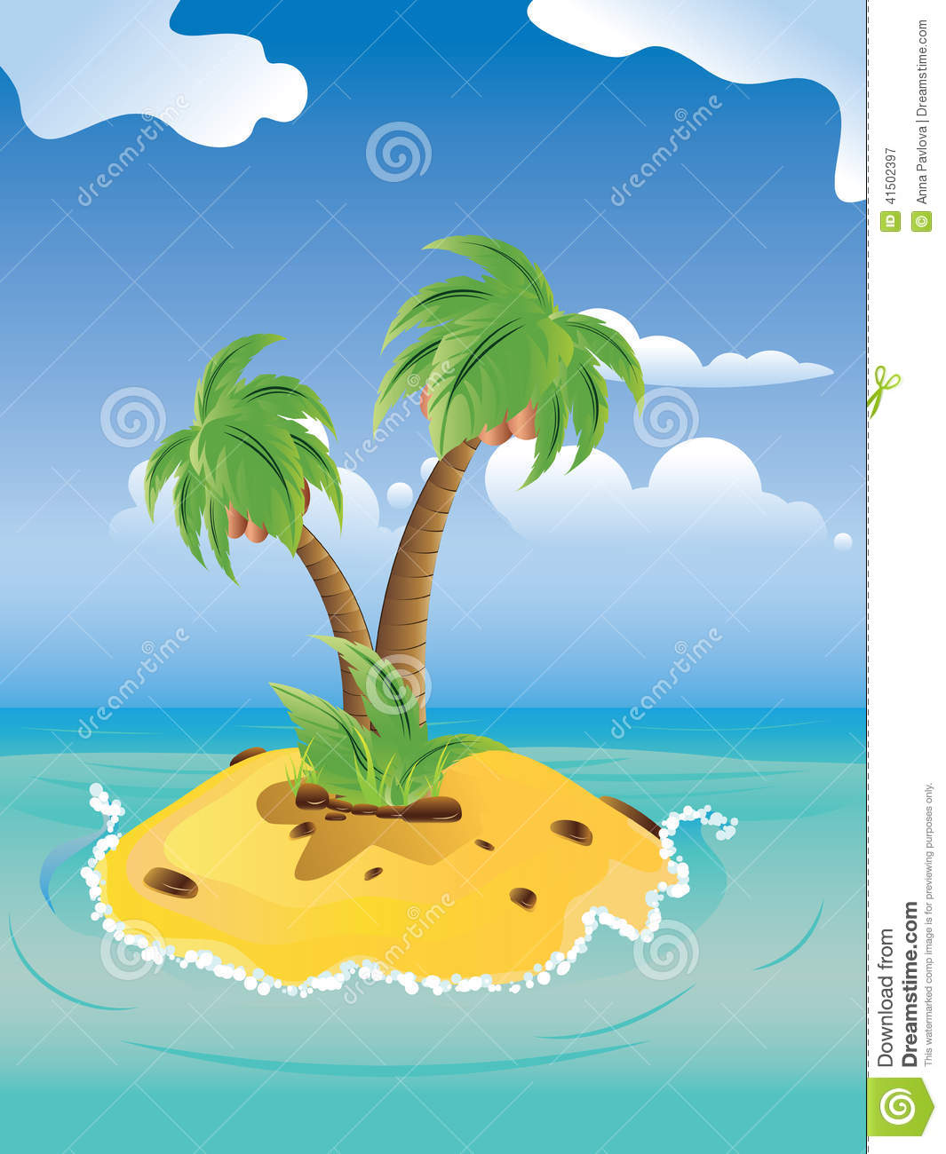 Cartoon Palm Island Stock Vector - Image: 41502397