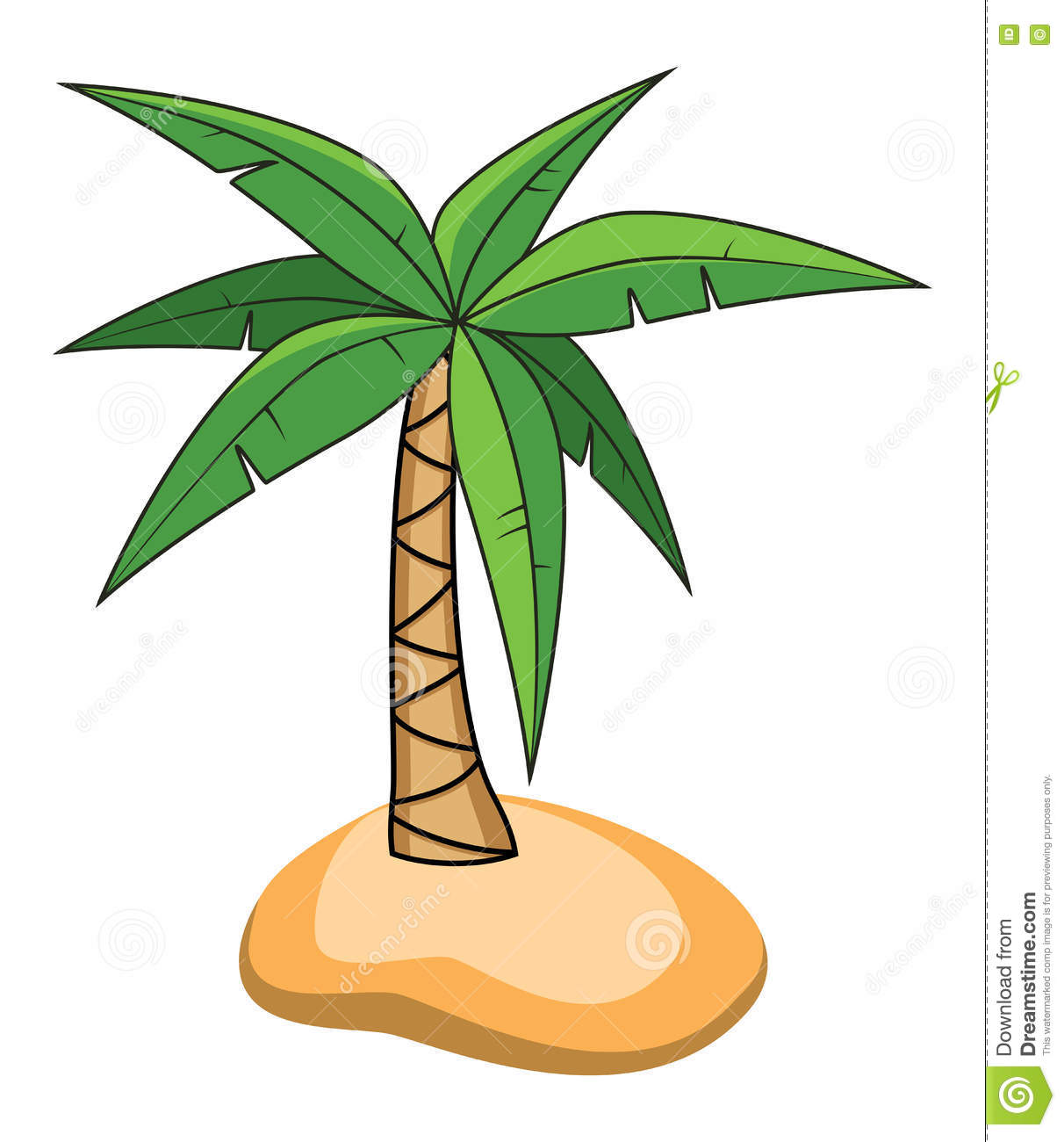 Cartoon Of Palm Tree On A Small Island, Vector Stock ...
